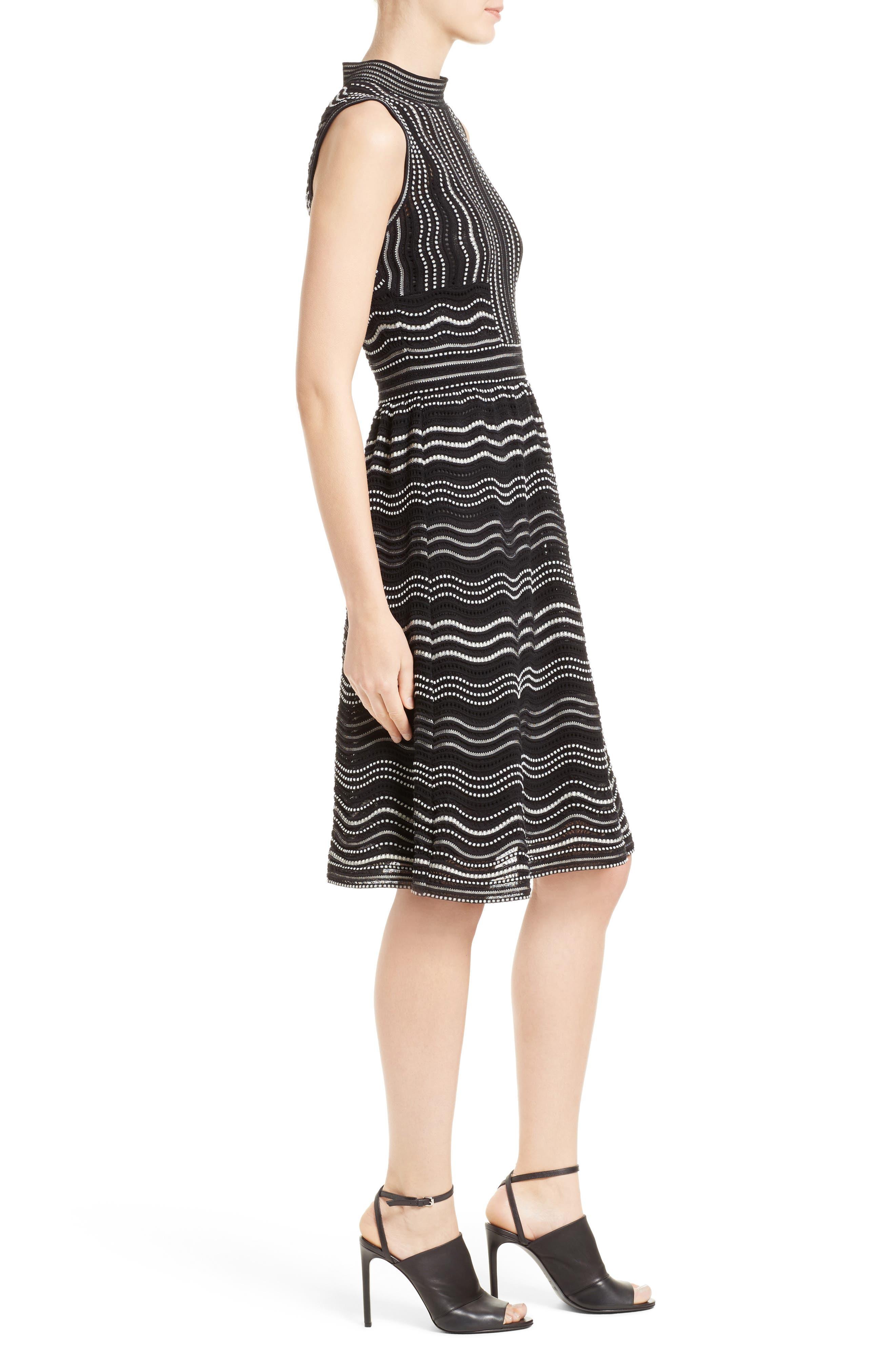 Ripple Dot Fit & Flare Dress,                             Alternate thumbnail 3, color,                             001