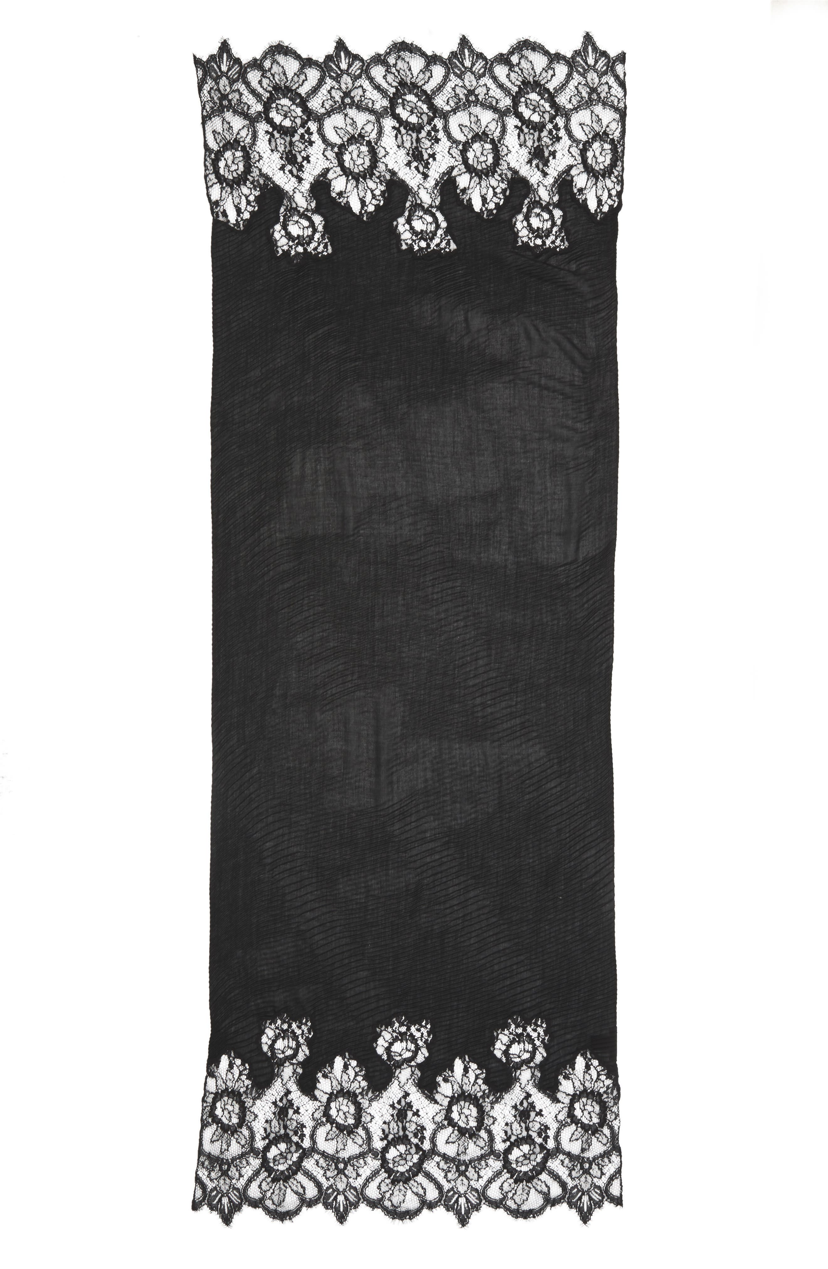 VALENTINO,                             Plissé Lace Trim Scarf,                             Main thumbnail 1, color,                             BLACK