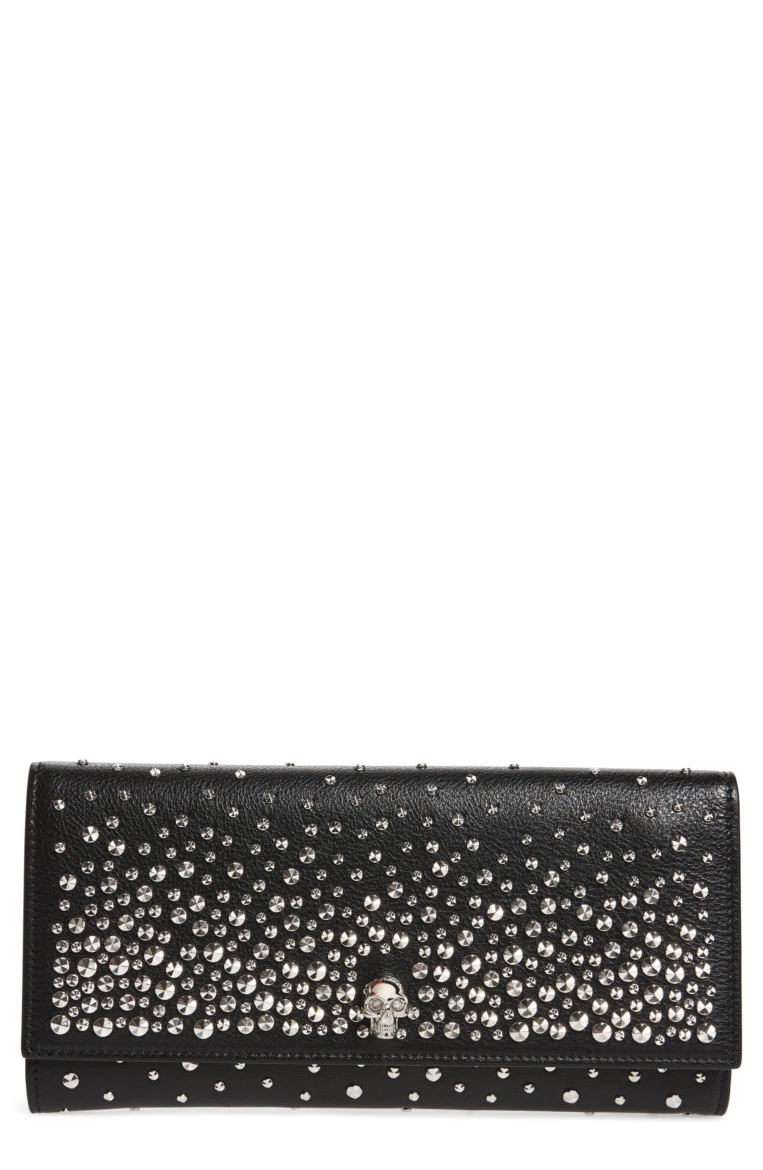 Studded Leather Travel Wallet,                         Main,                         color, BLACK