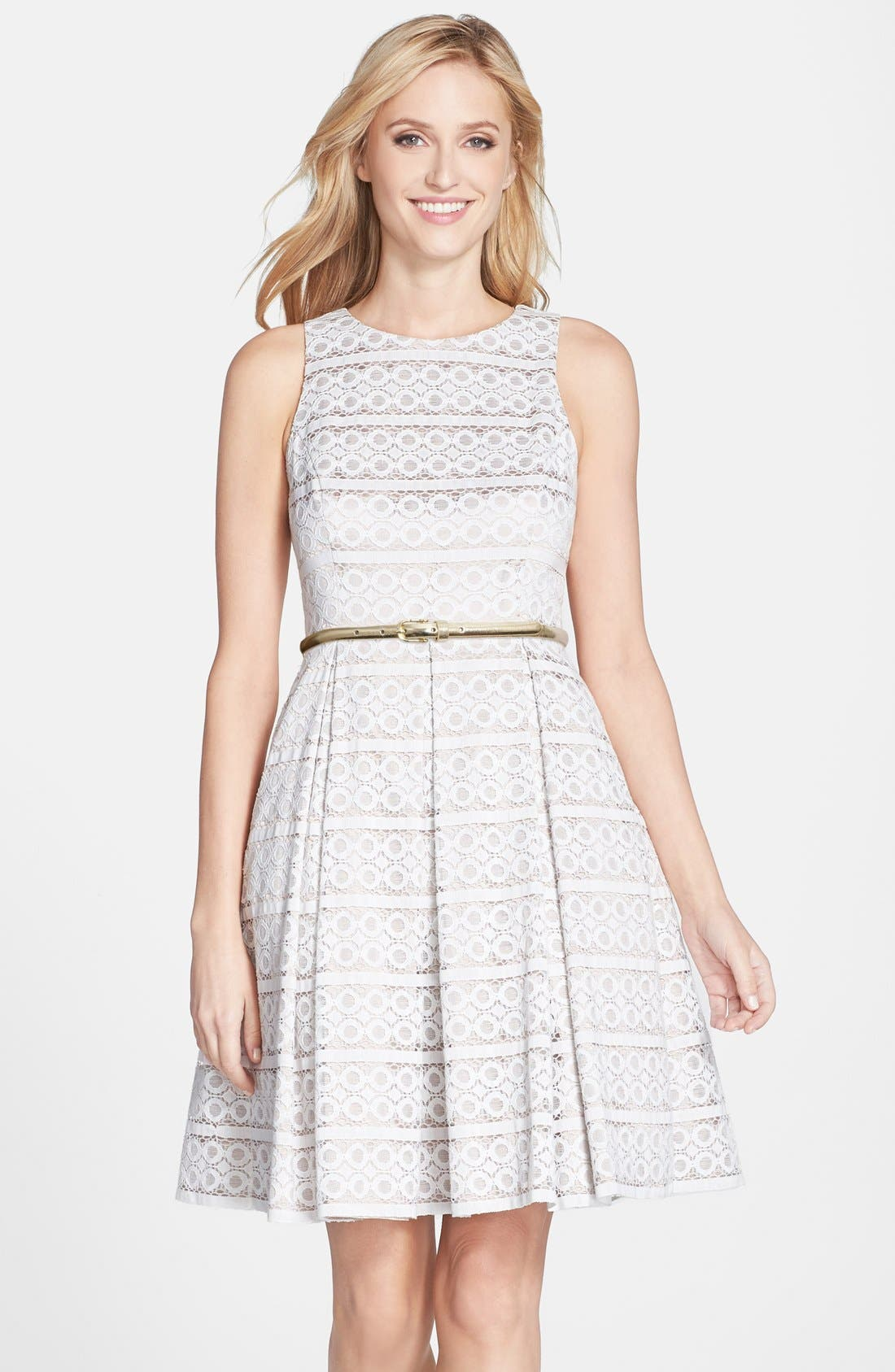 Belted Eyelet Lace Fit & Flare Dress, Main, color, 900