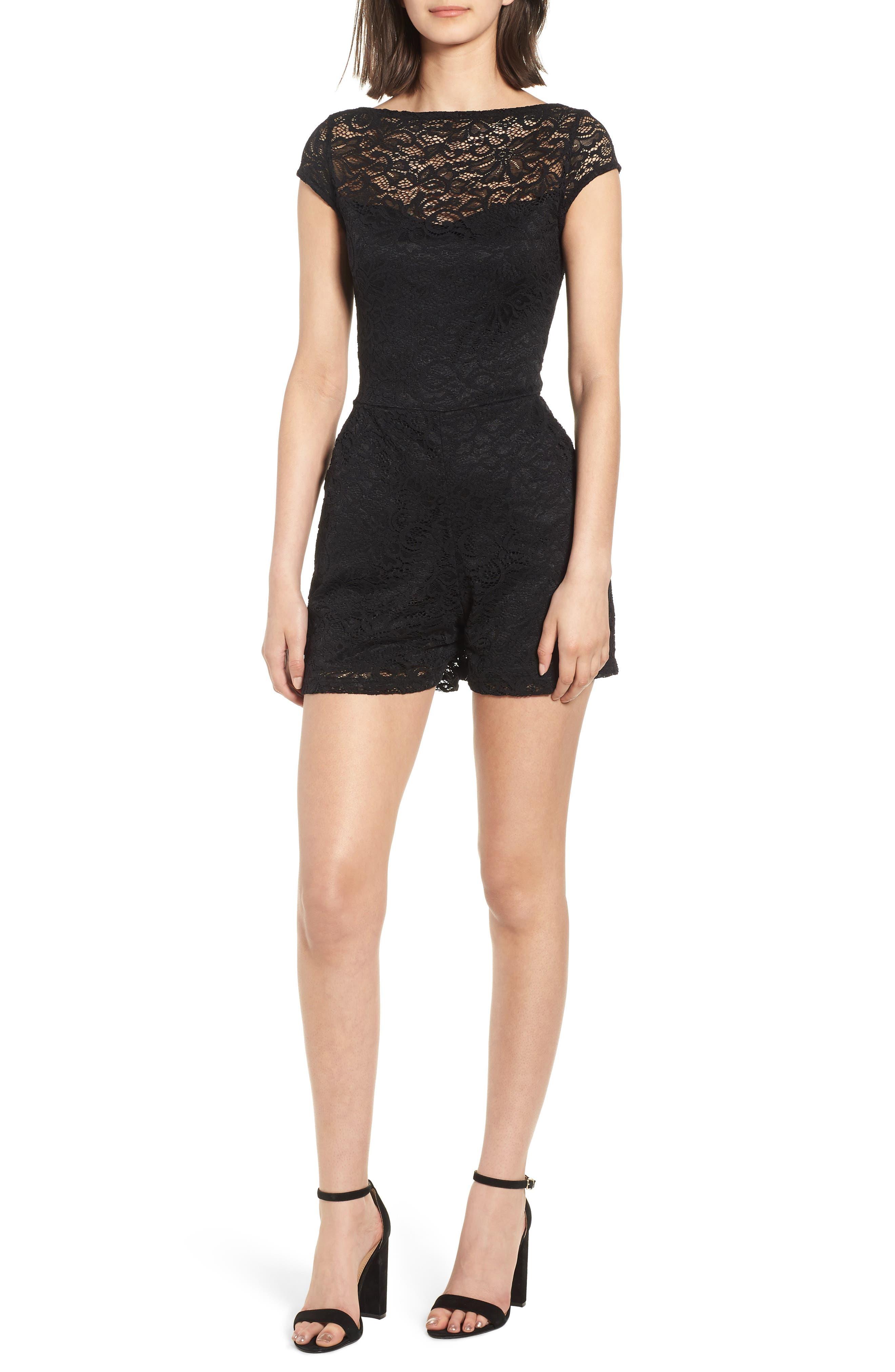 Lace Romper,                         Main,                         color, BLACK