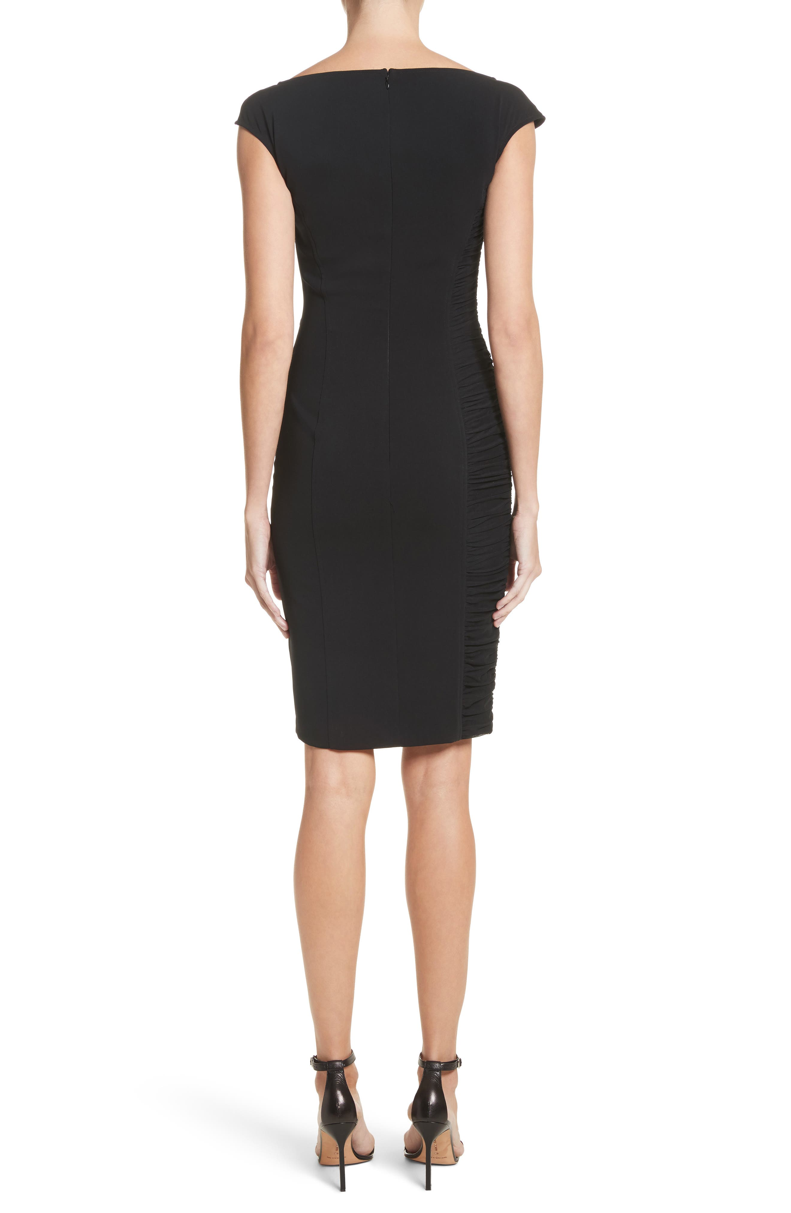 Zipper Detail Sheath Dress,                             Alternate thumbnail 2, color,                             001
