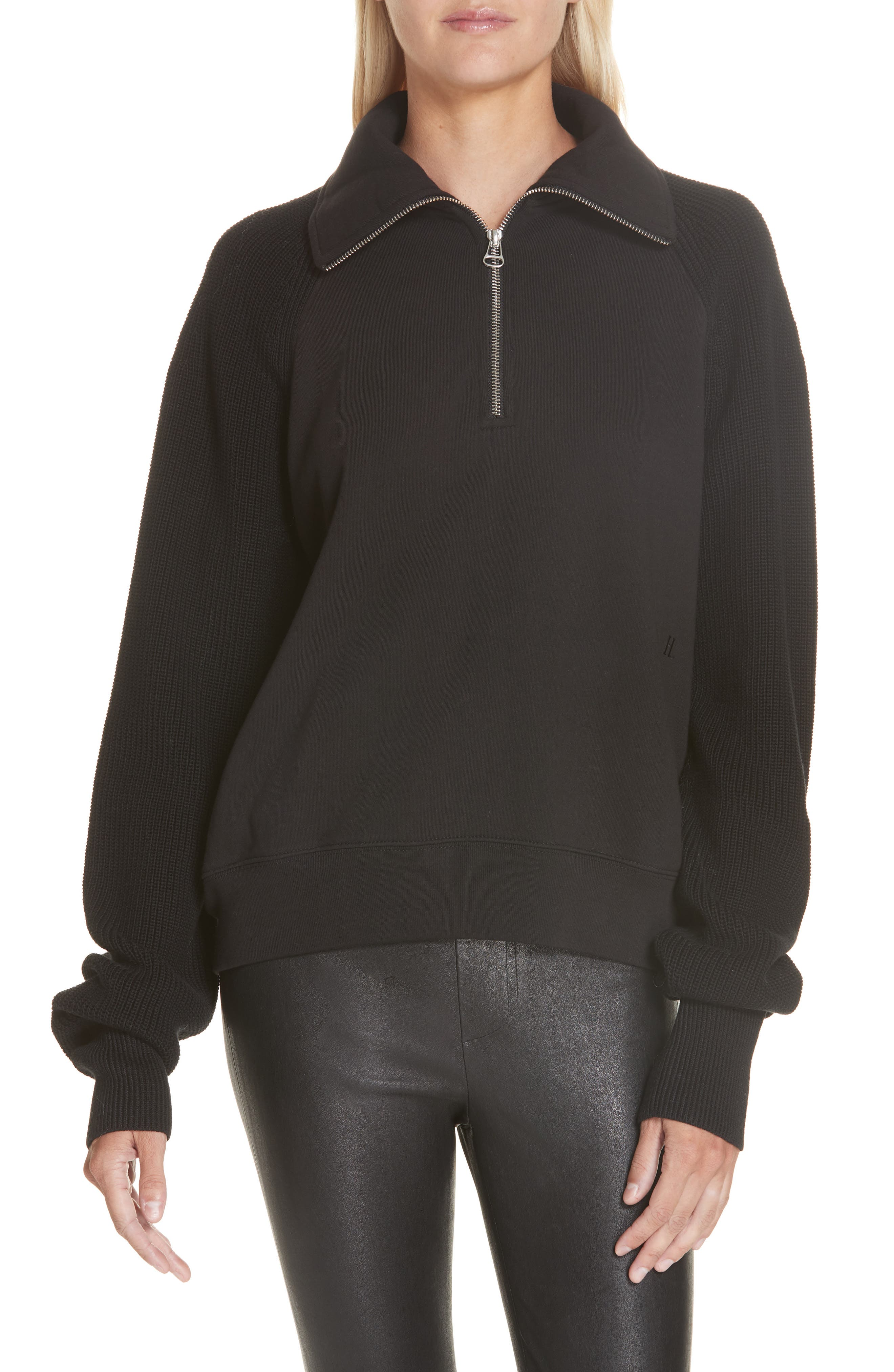 Helmut Lang Contrast Sleeve Quarter Zip Sweatshirt, Black