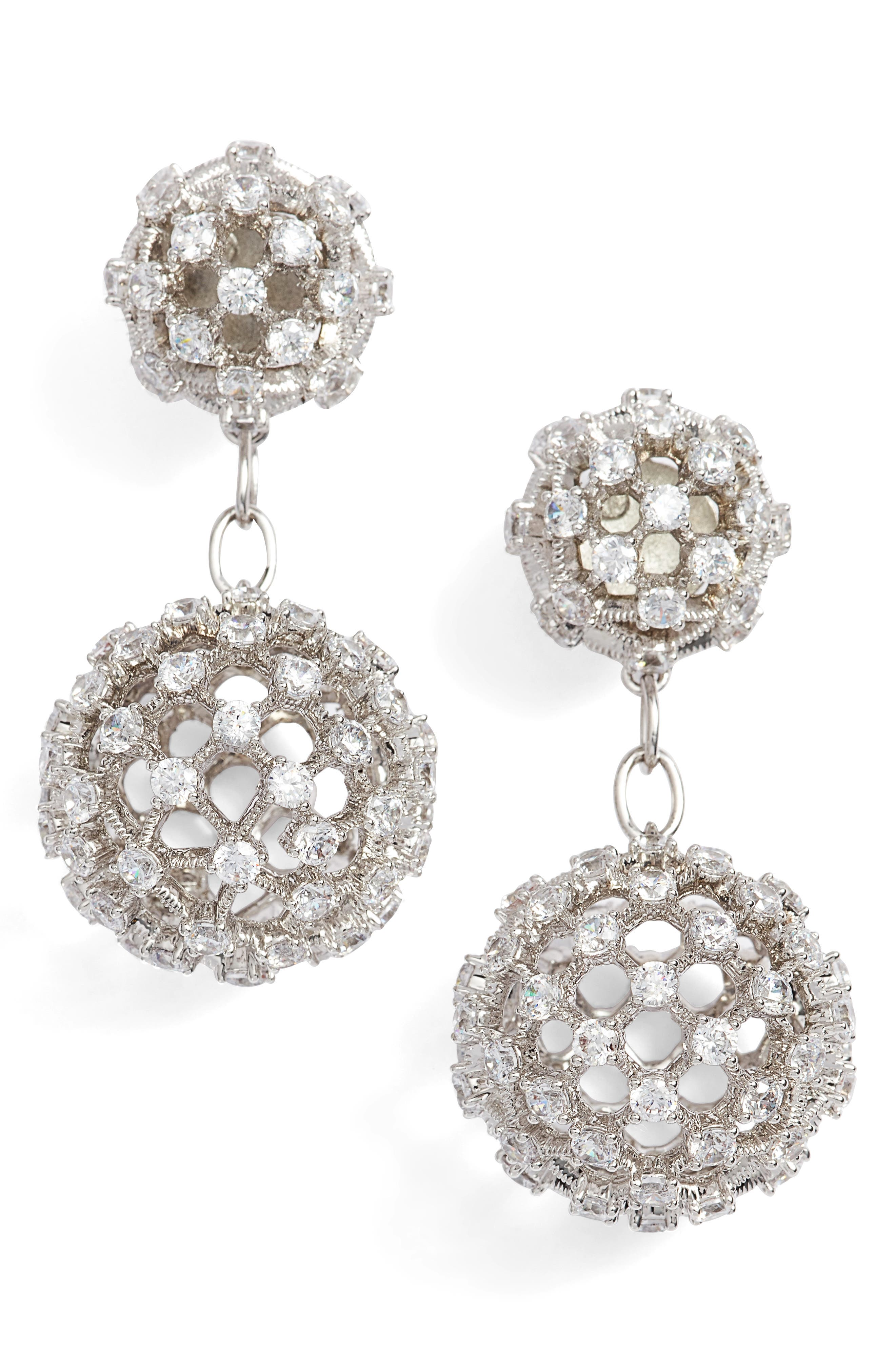 Cubic Zirconia Double Drop Earrings,                         Main,                         color, 040
