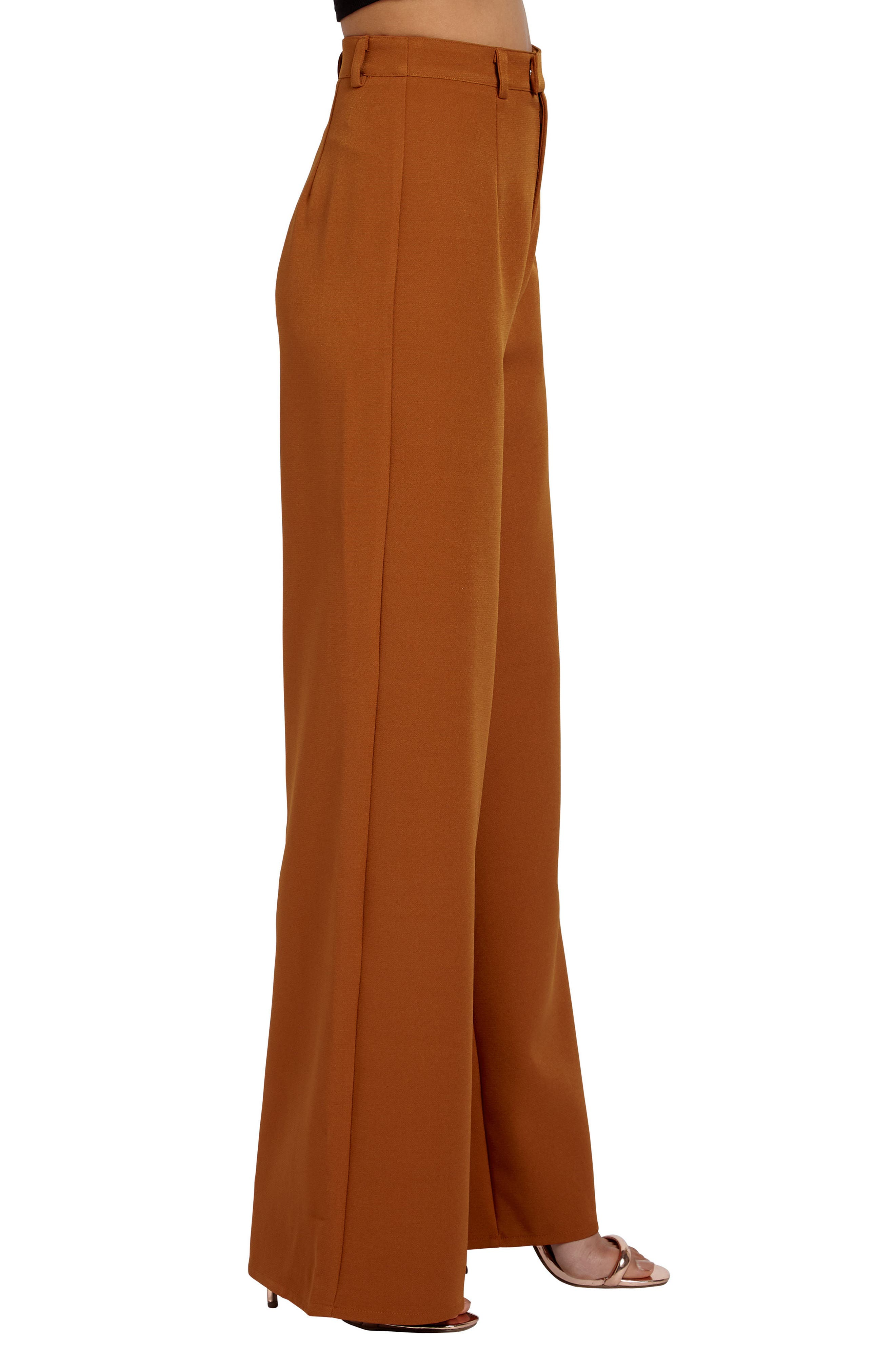Crepe Wide Leg Trousers,                             Alternate thumbnail 3, color,                             200