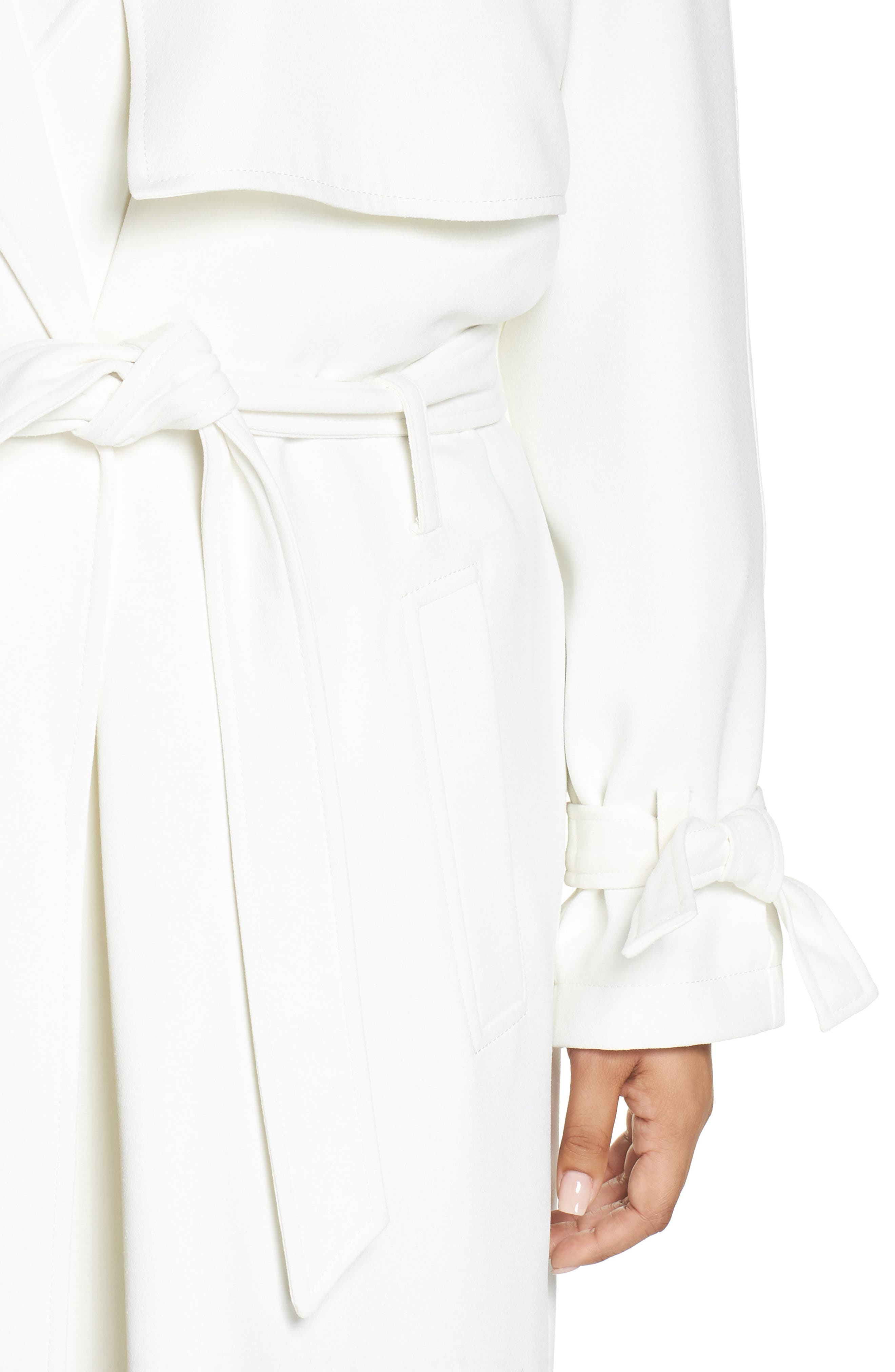 Crepe Trench Coat,                             Alternate thumbnail 4, color,                             WHITE