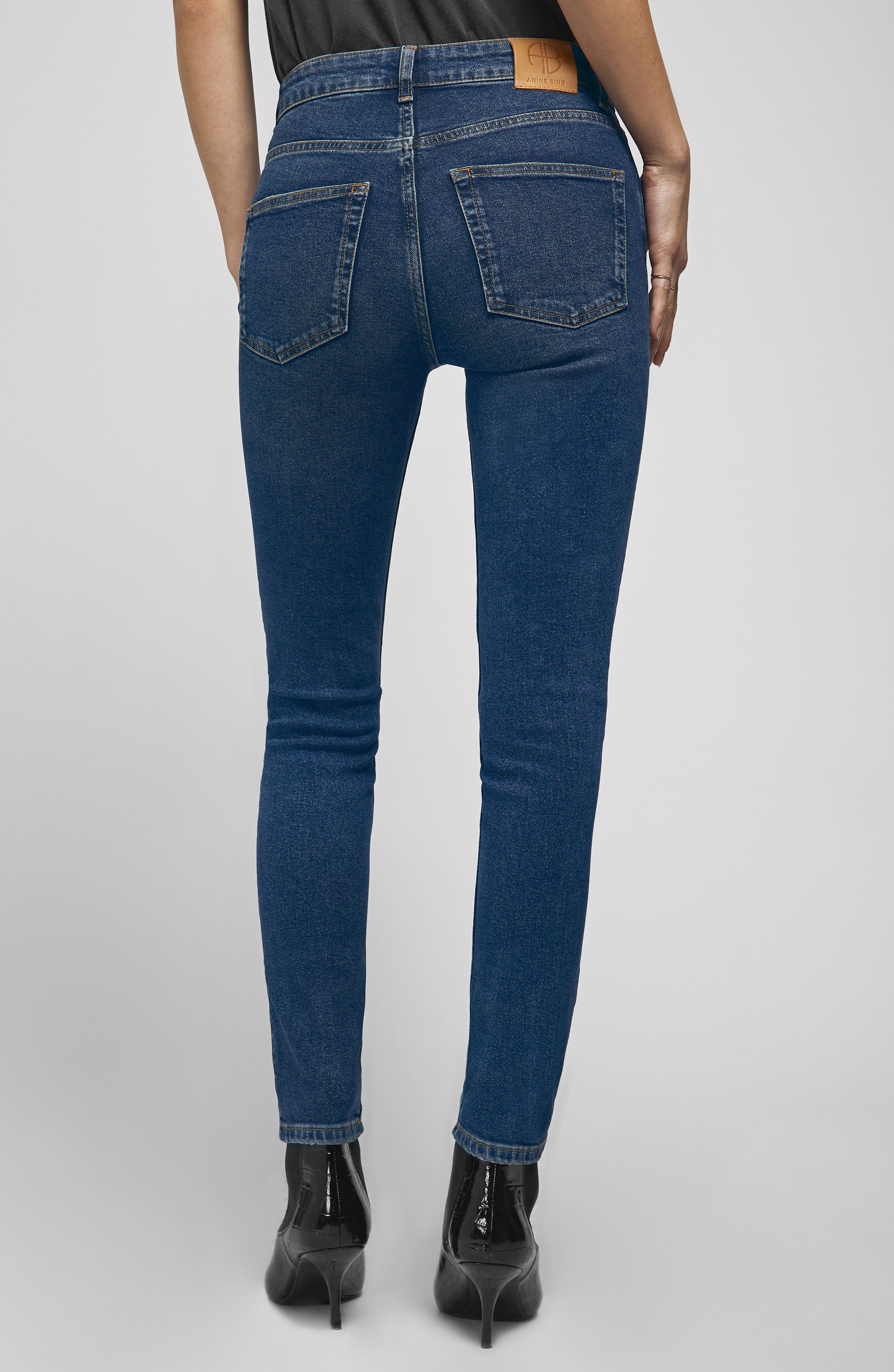 ANINE BING,                             High Waist Skinny Jeans,                             Alternate thumbnail 2, color,                             NAVY