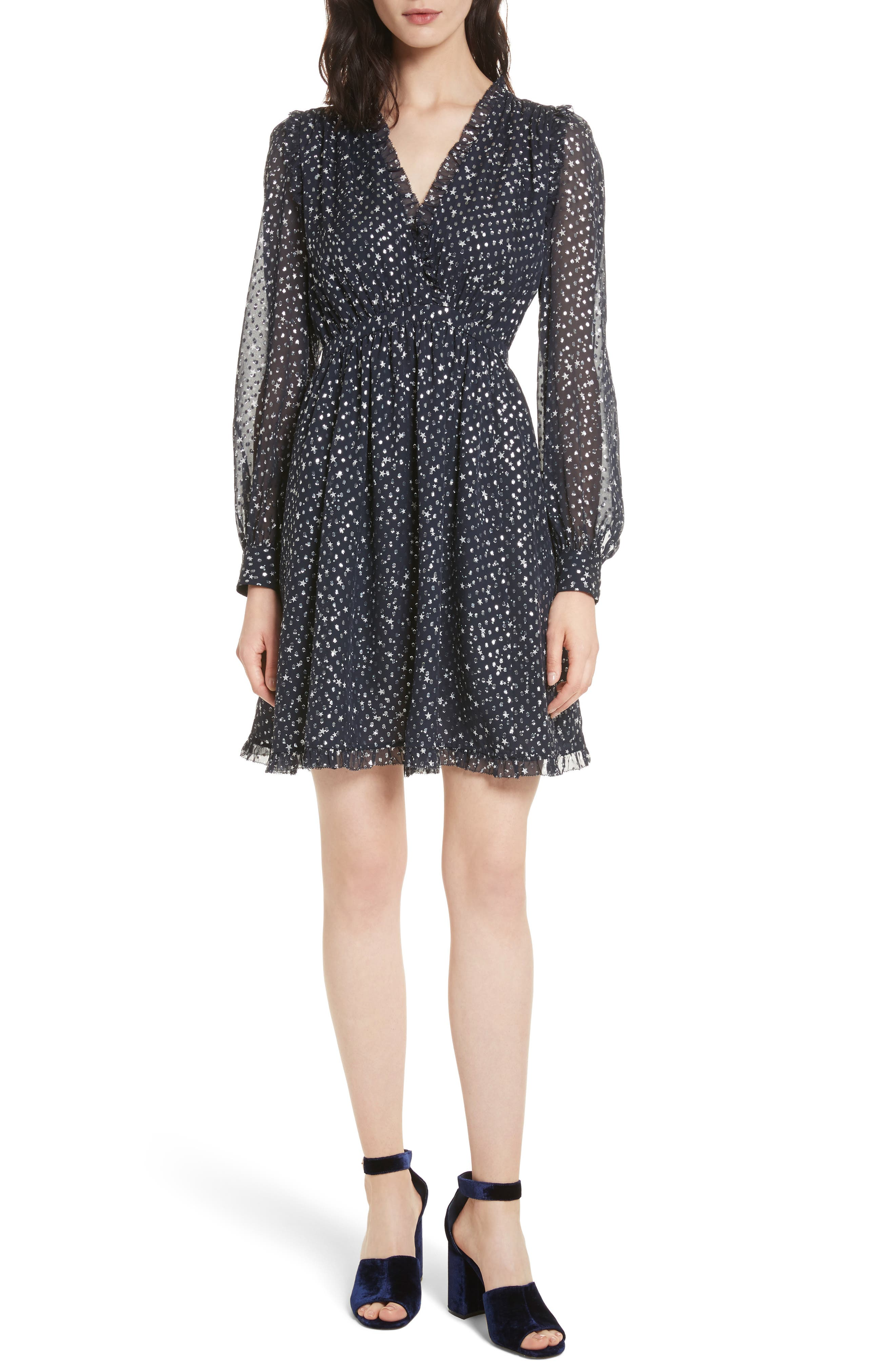 night sky dot dress,                         Main,                         color, 473