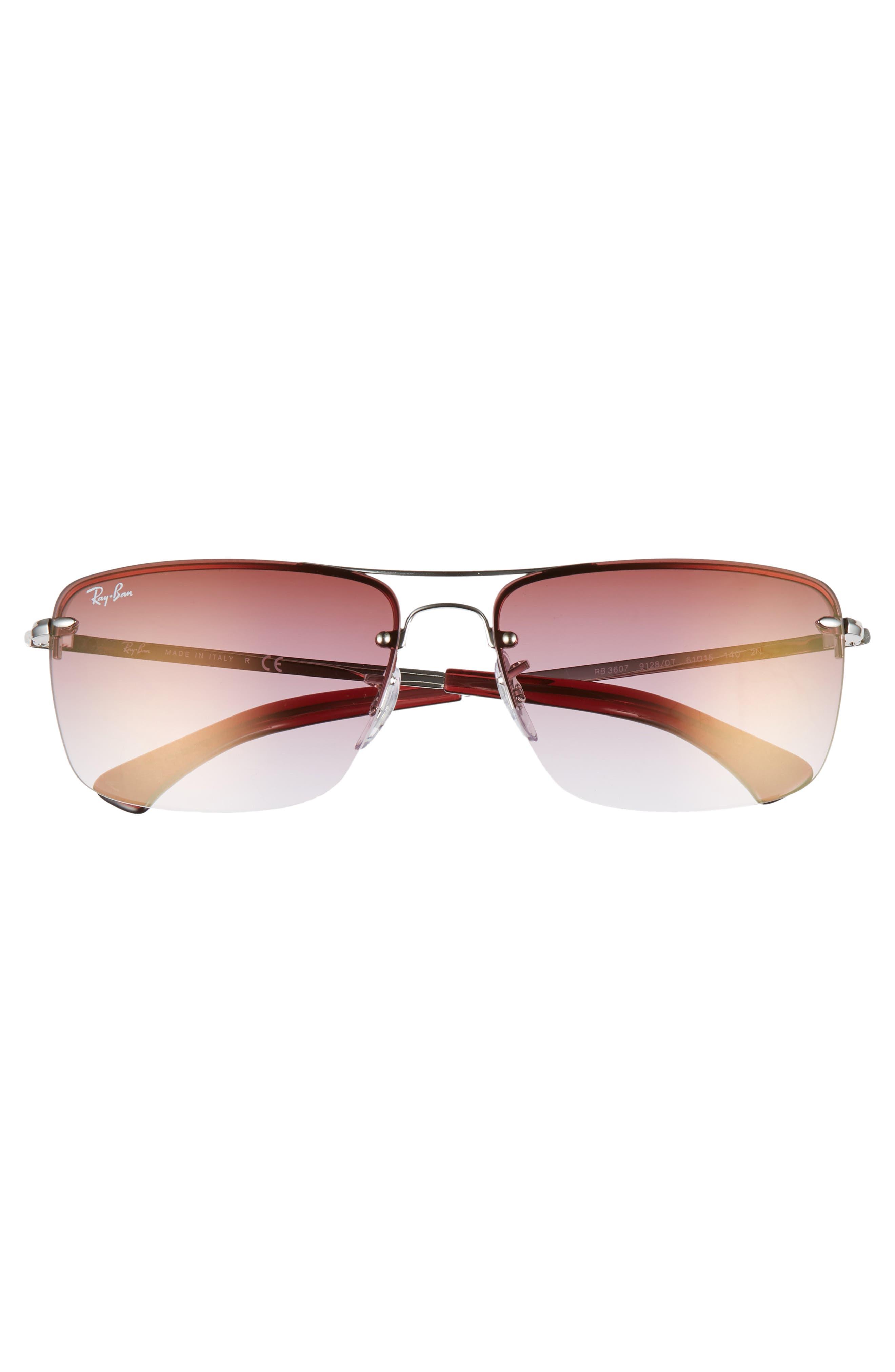 61mm Rimless Navigator Sunglasses,                             Alternate thumbnail 3, color,                             SILVER/ BORDEAUX GRADIENT