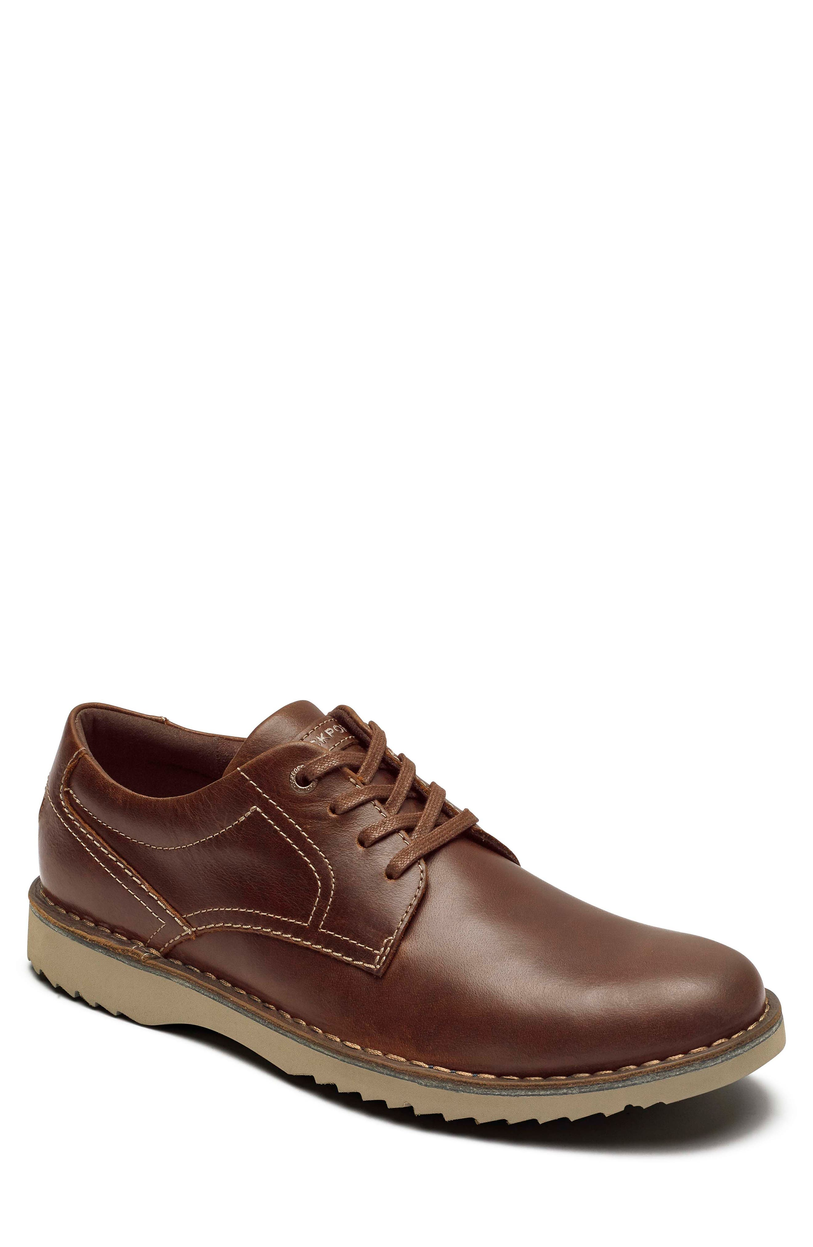 Cabot Plain Toe Derby,                         Main,                         color, TAN BROWN LEATHER