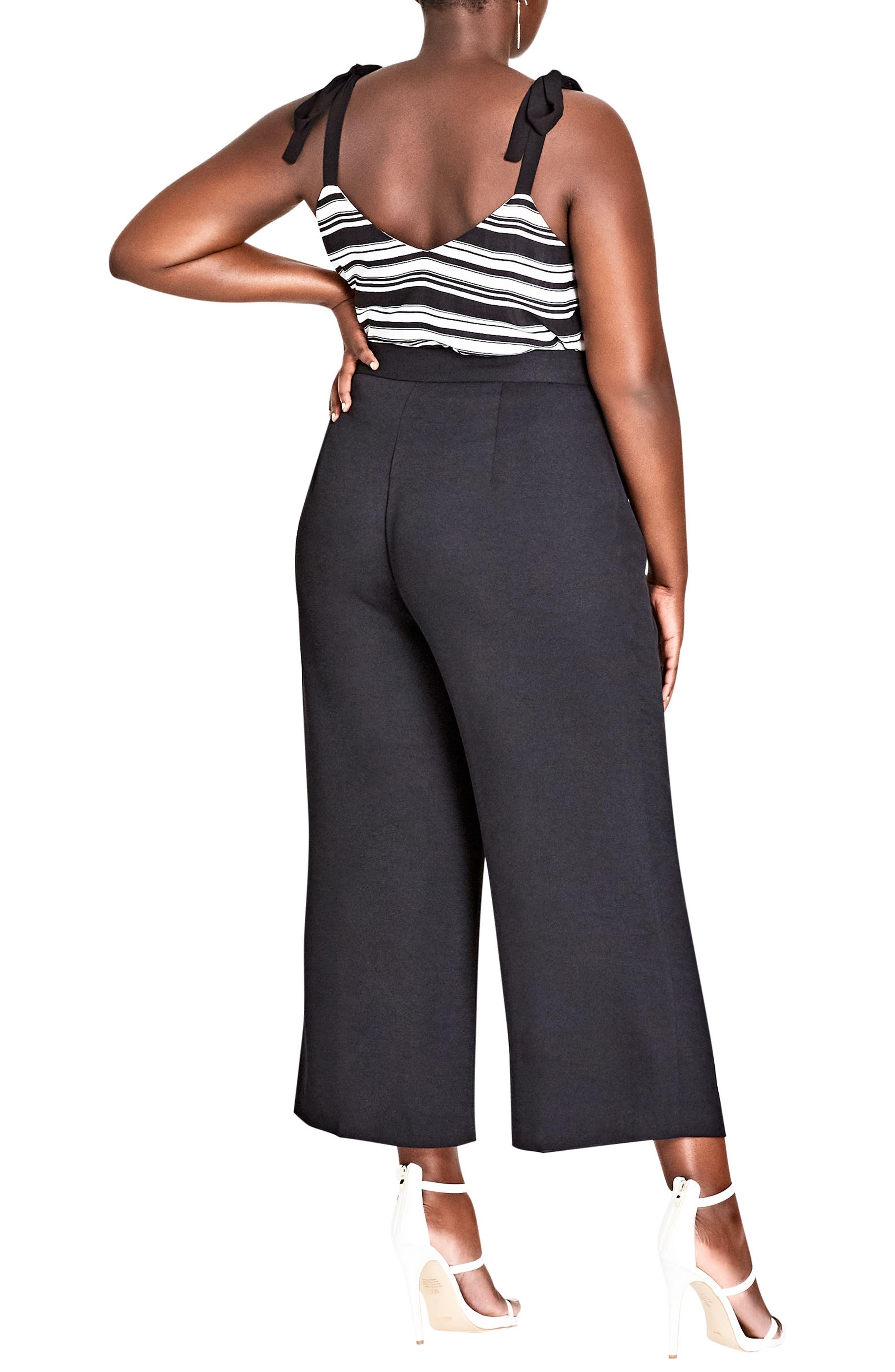 Elegant Belted Culottes,                             Alternate thumbnail 9, color,                             BLACK