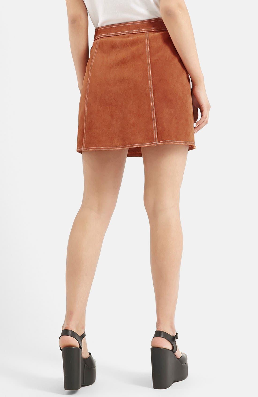 Suede A-Line Miniskirt,                             Alternate thumbnail 4, color,                             610