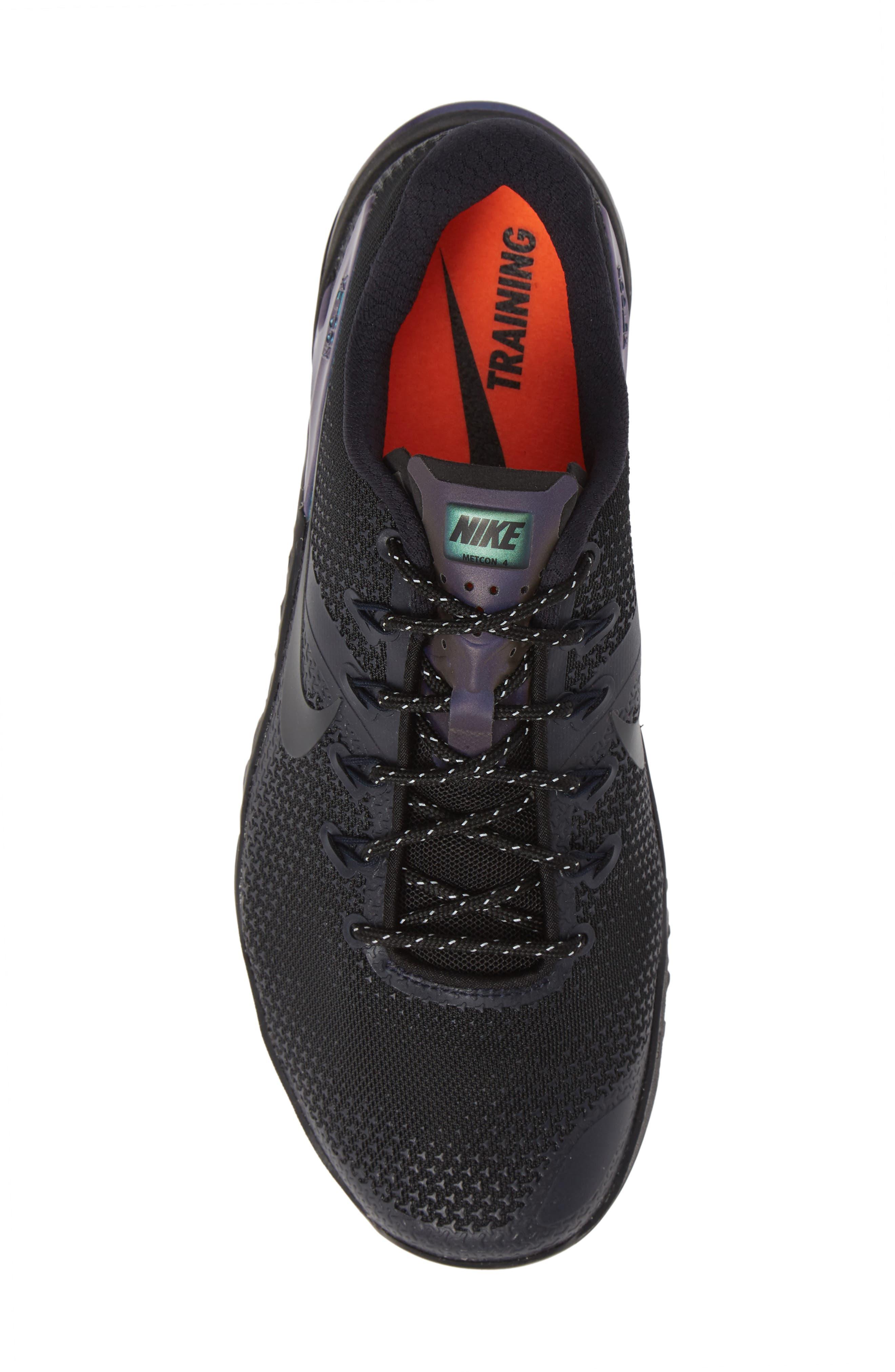 NIKE,                             Metcon 4 Prem Training Shoe,                             Alternate thumbnail 5, color,                             BLACK/ BLACK/ DARK OBSIDIAN