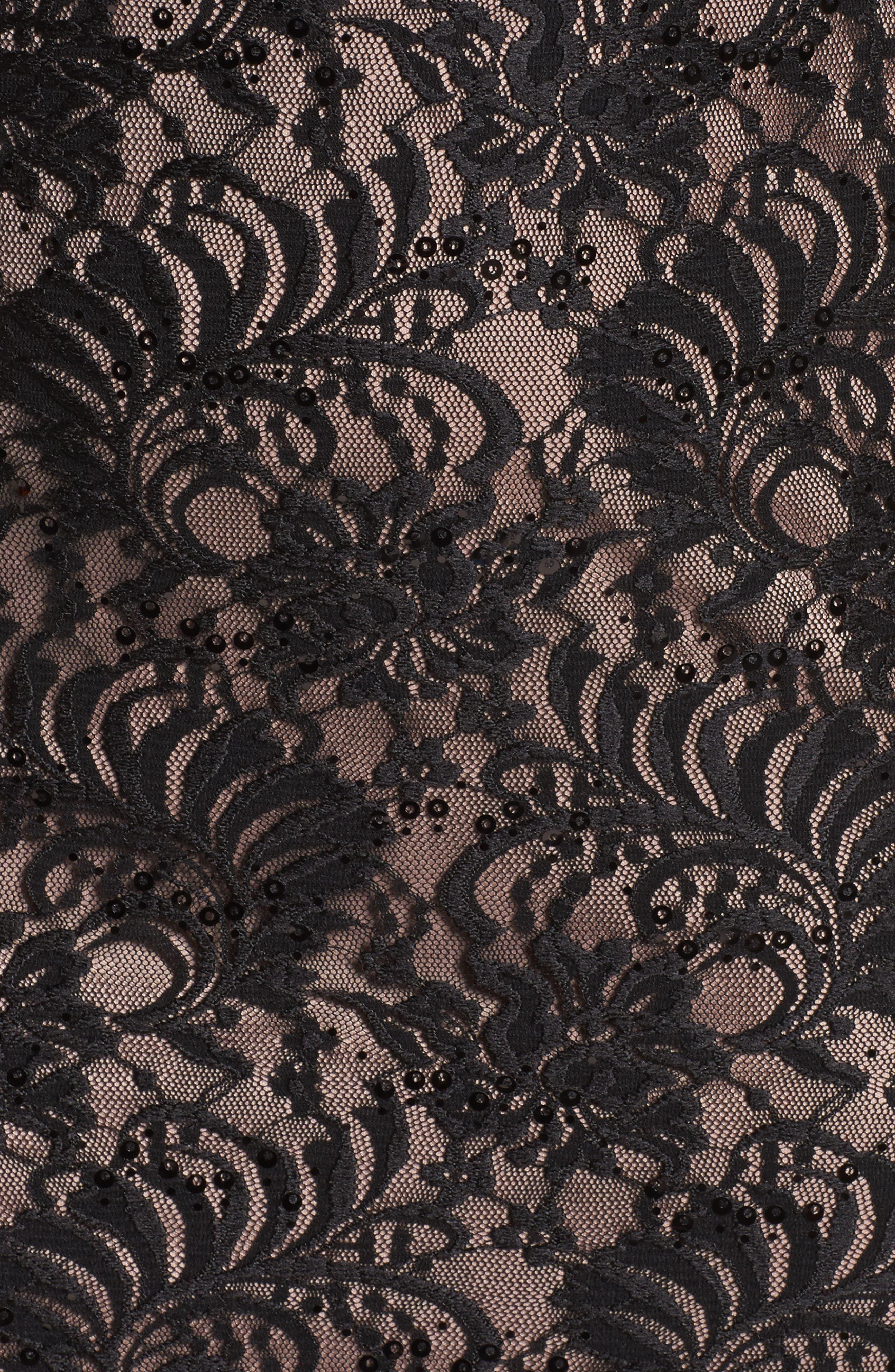 Lace Square Neck Gown,                             Alternate thumbnail 5, color,                             BLACK/ NUDE