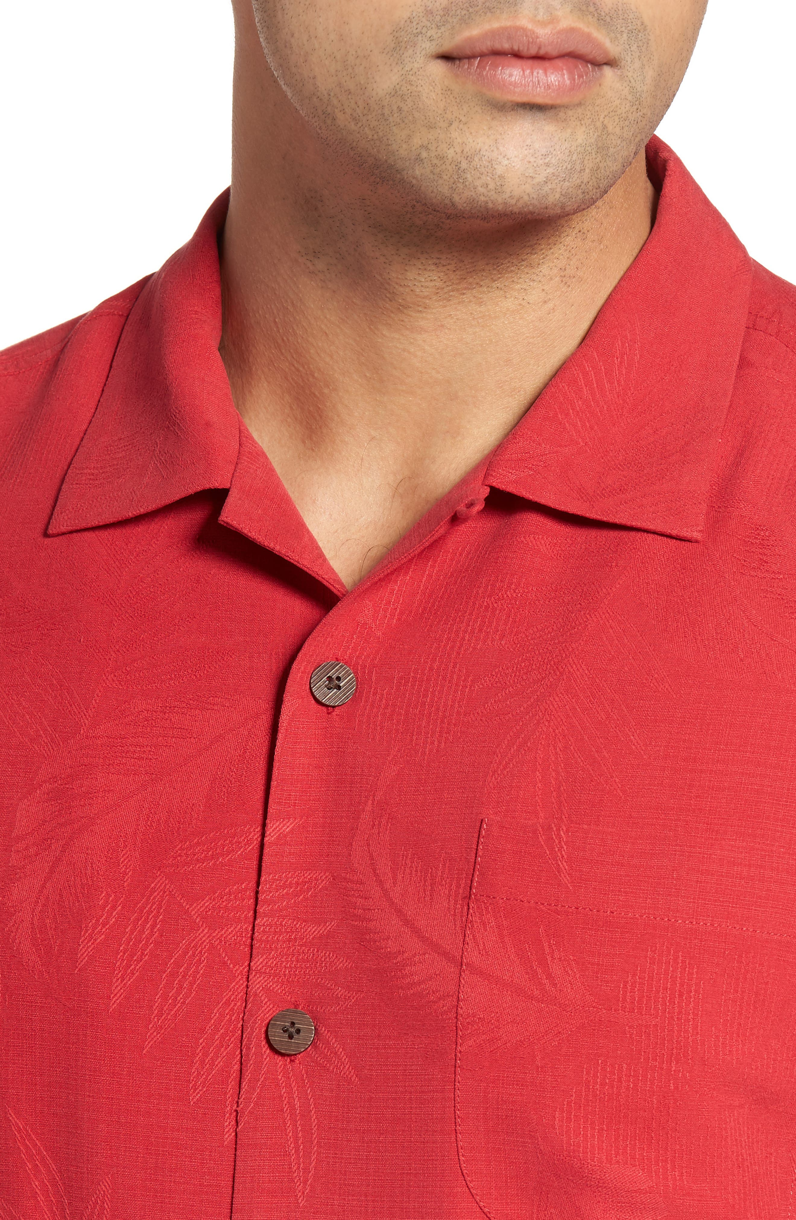 Rio Fronds Short Sleeve Silk Sport Shirt,                             Alternate thumbnail 77, color,