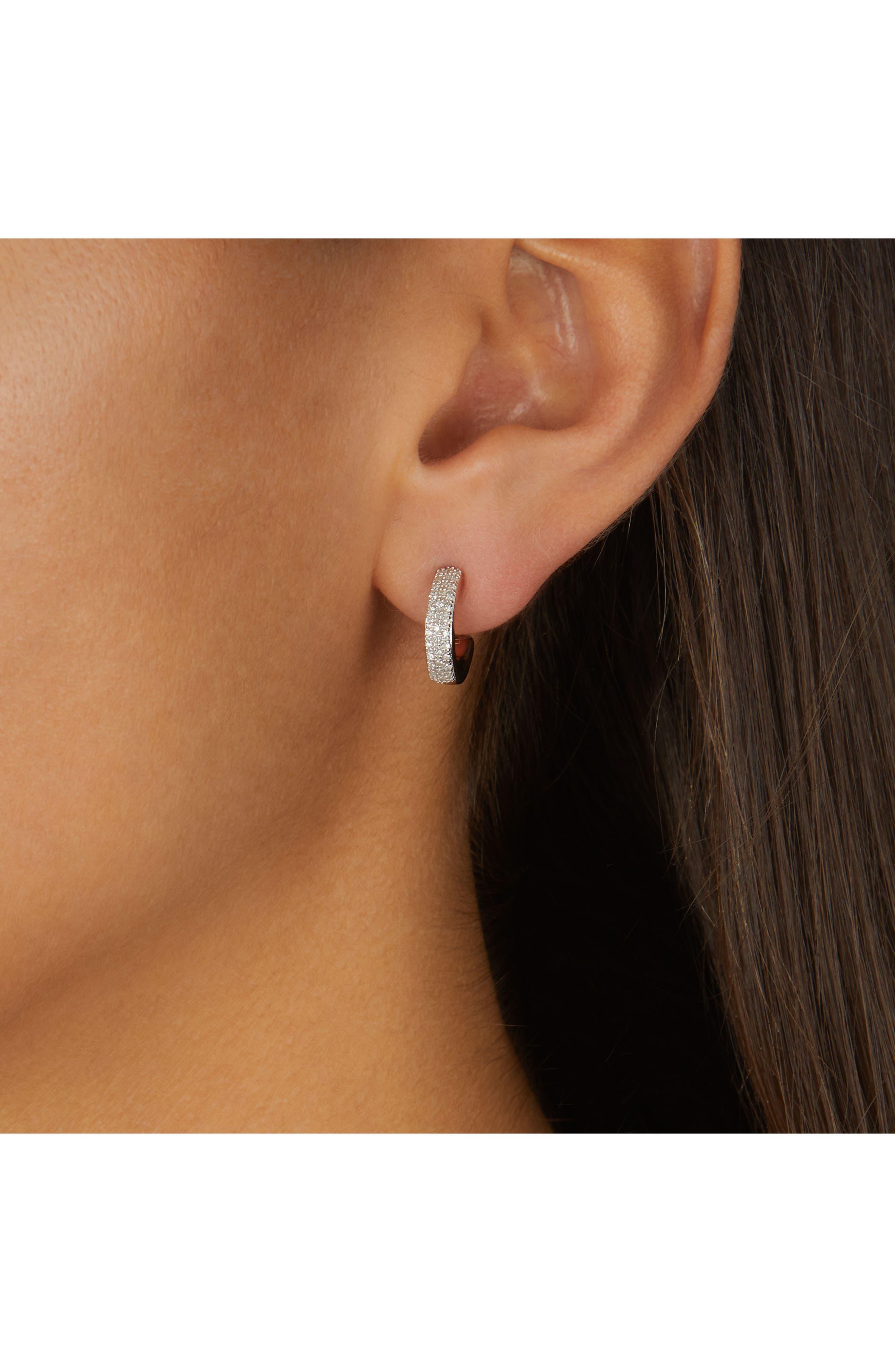 Fiji Mini Diamond Hoop Earrings,                             Alternate thumbnail 2, color,                             ROSE GOLD
