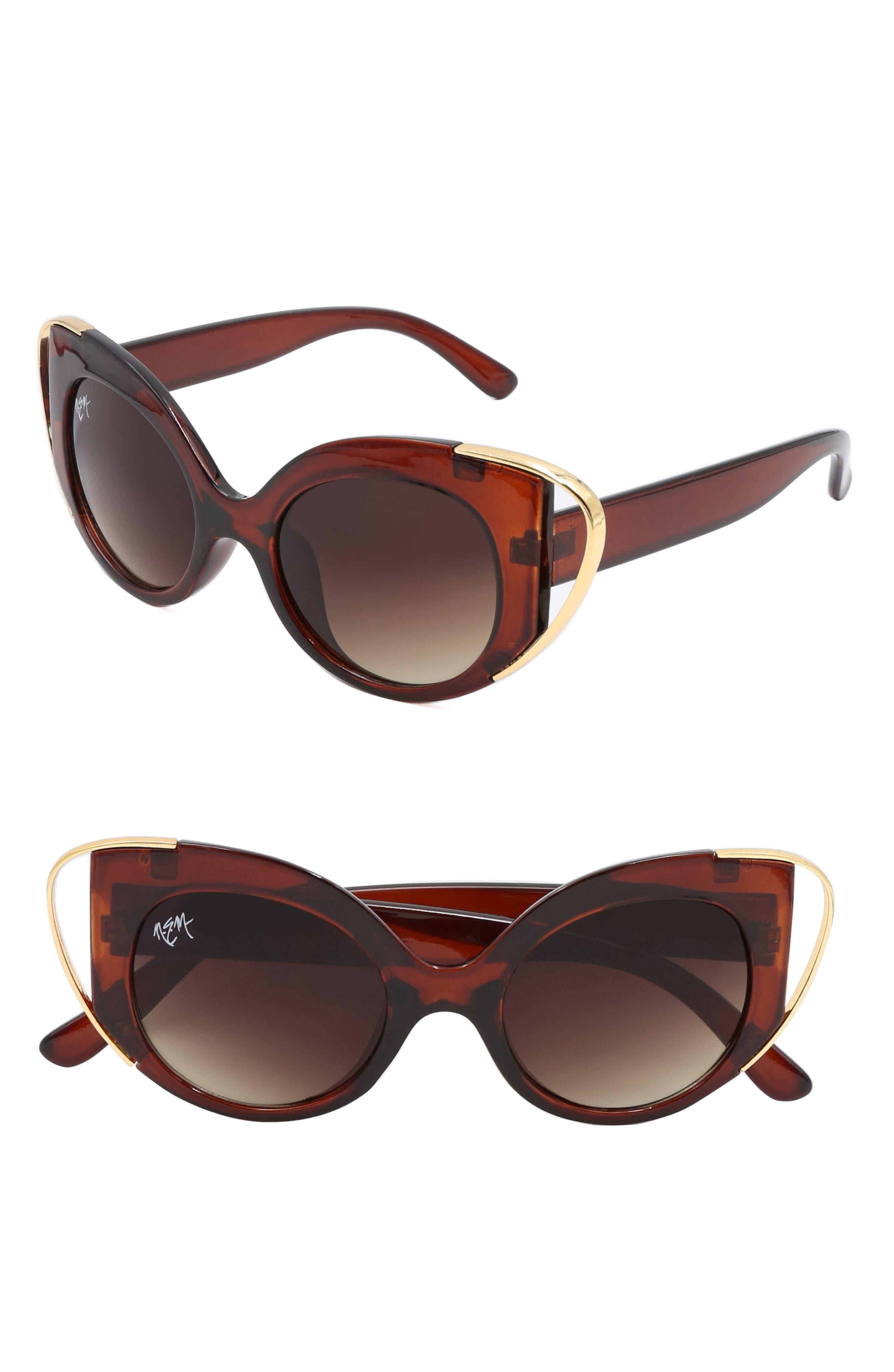 Nem Audrey 50Mm Cutout Cat Eye Sunglasses - Clear Amber W Grey Gradient