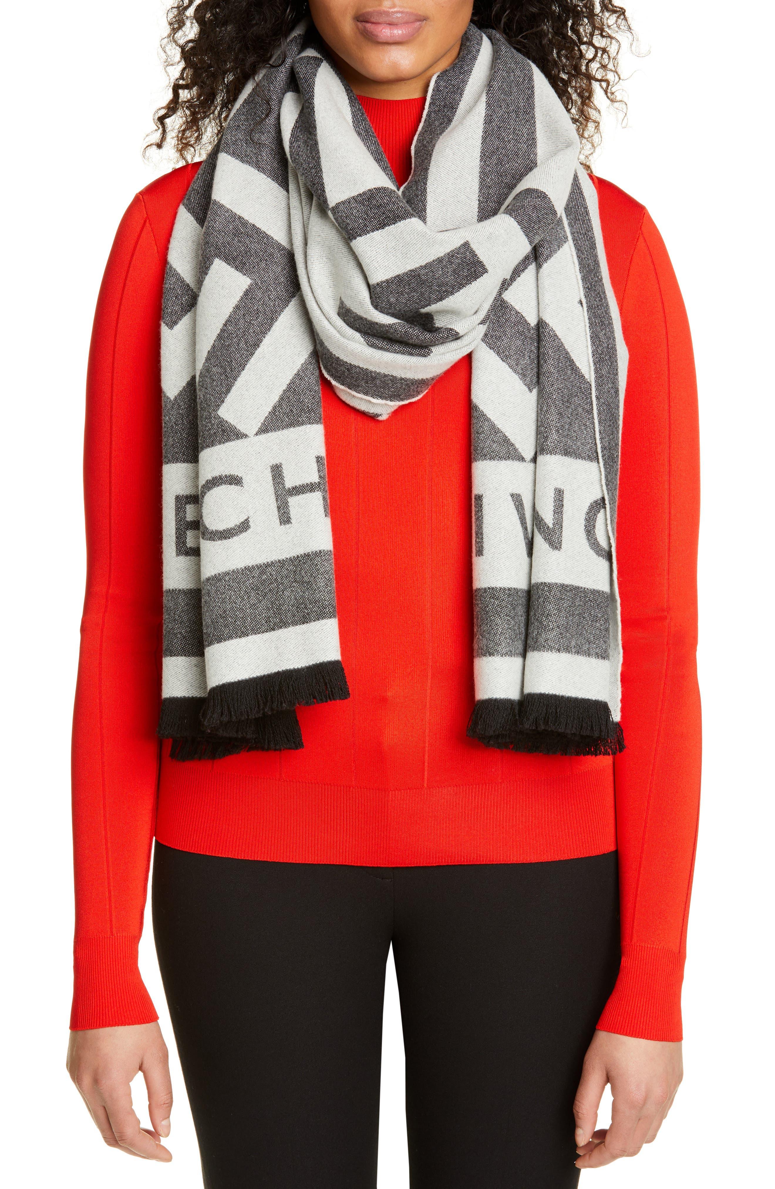 GIVENCHY,                             Nouveau G Wool & Cashmere Scarf,                             Alternate thumbnail 2, color,                             BLACK/ WHITE