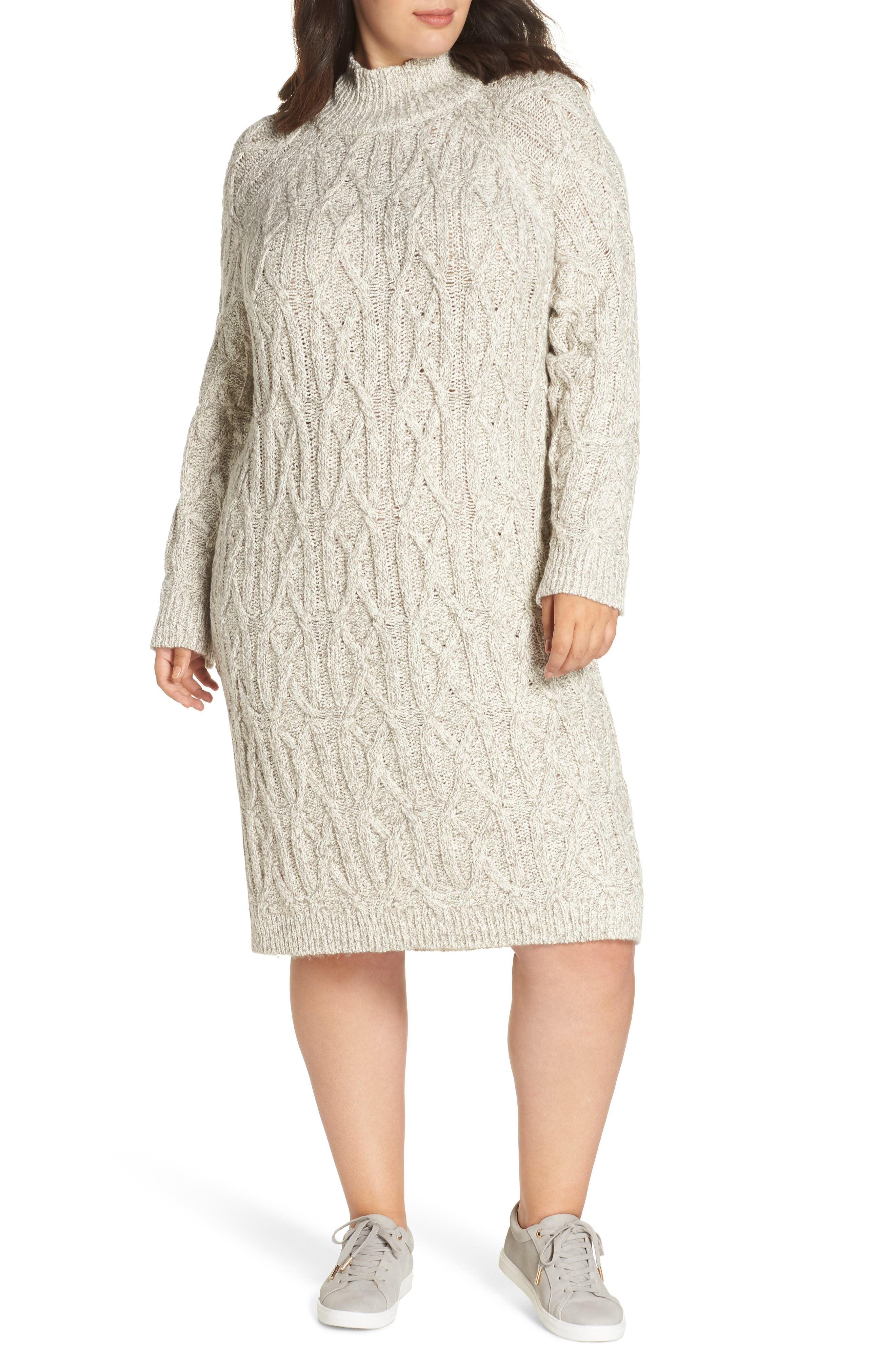 Cable Knit Sweater Dress,                             Main thumbnail 1, color,                             GREY PEARL MARL