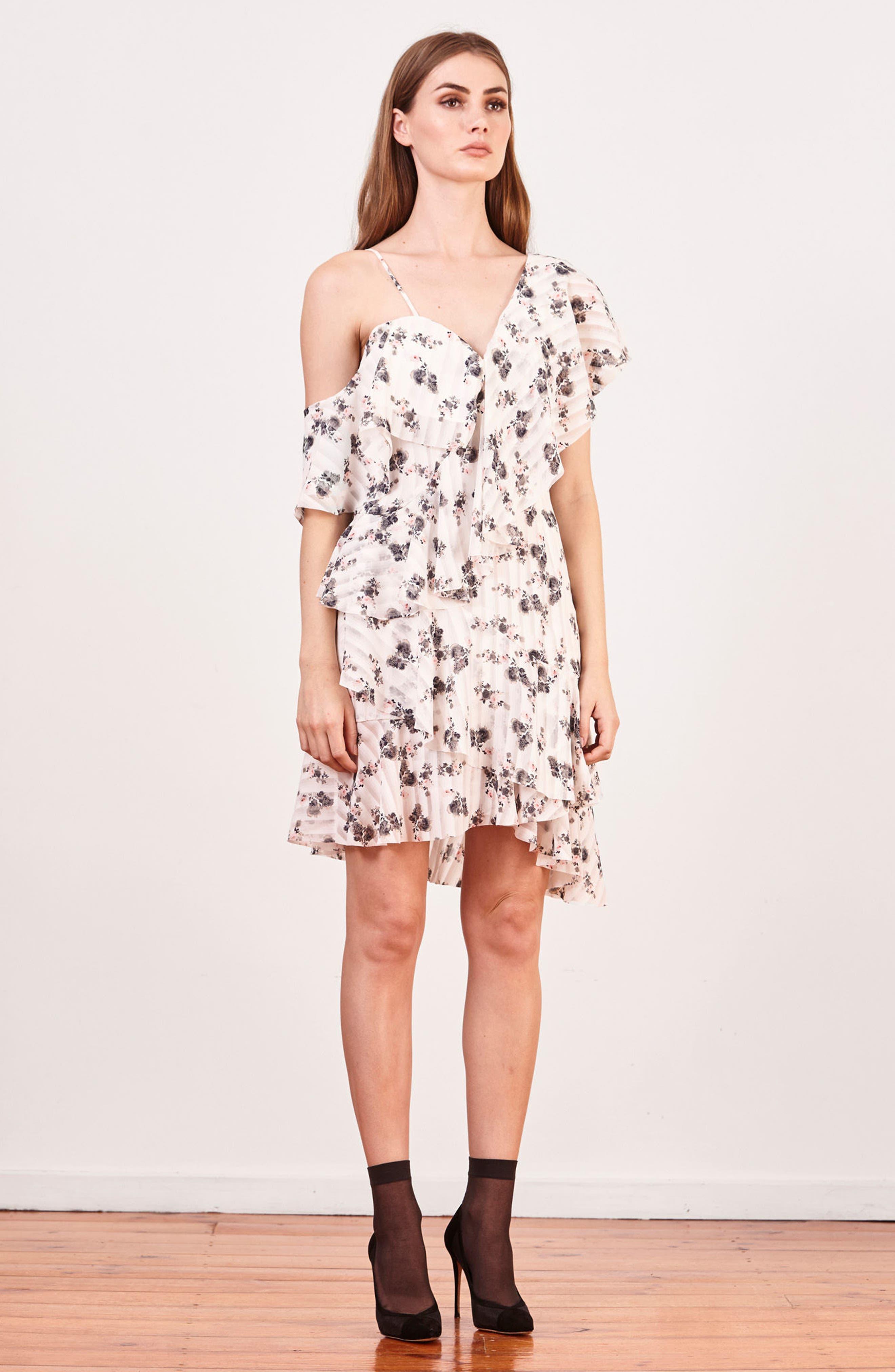 Bloom One-Shoulder Dress,                             Alternate thumbnail 7, color,                             100