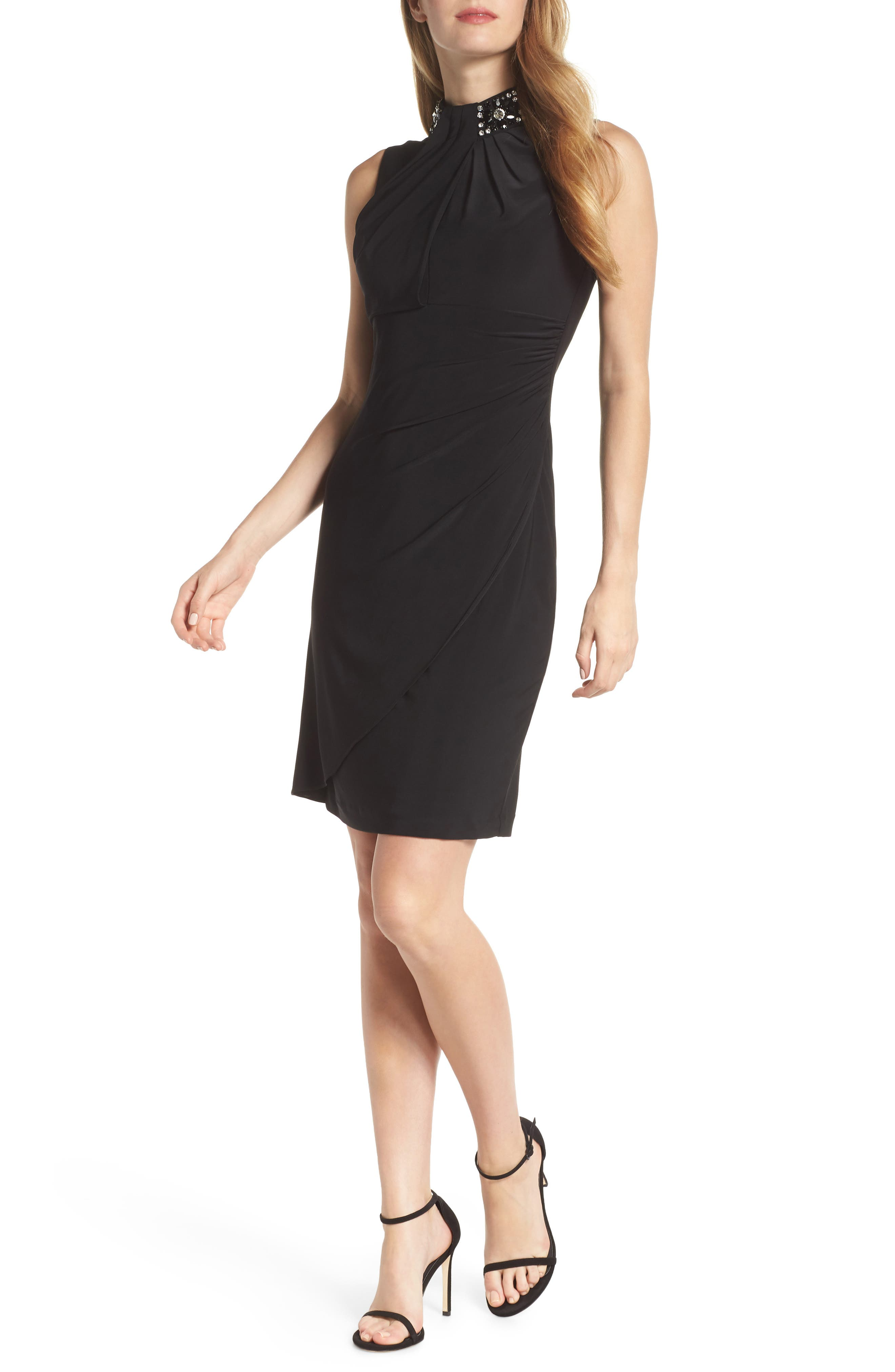 Ruched Cocktail Sheath,                         Main,                         color, BLACK