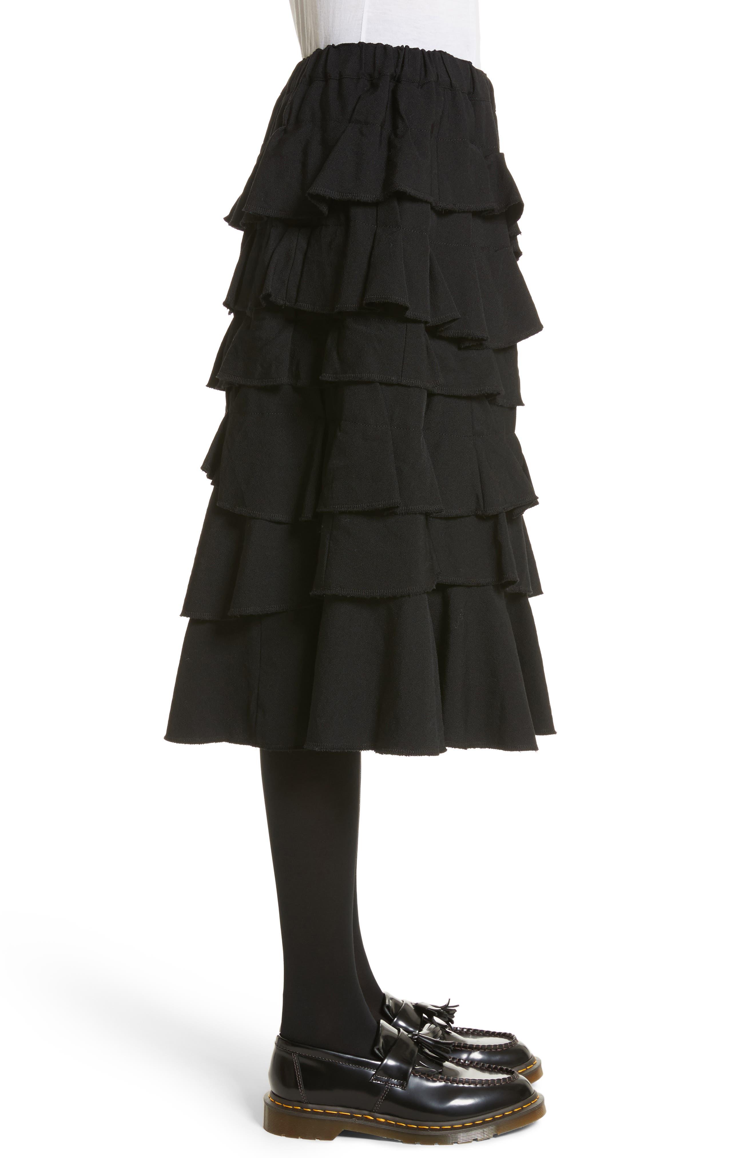 Ruffle Gabardine Skirt,                             Alternate thumbnail 3, color,                             001