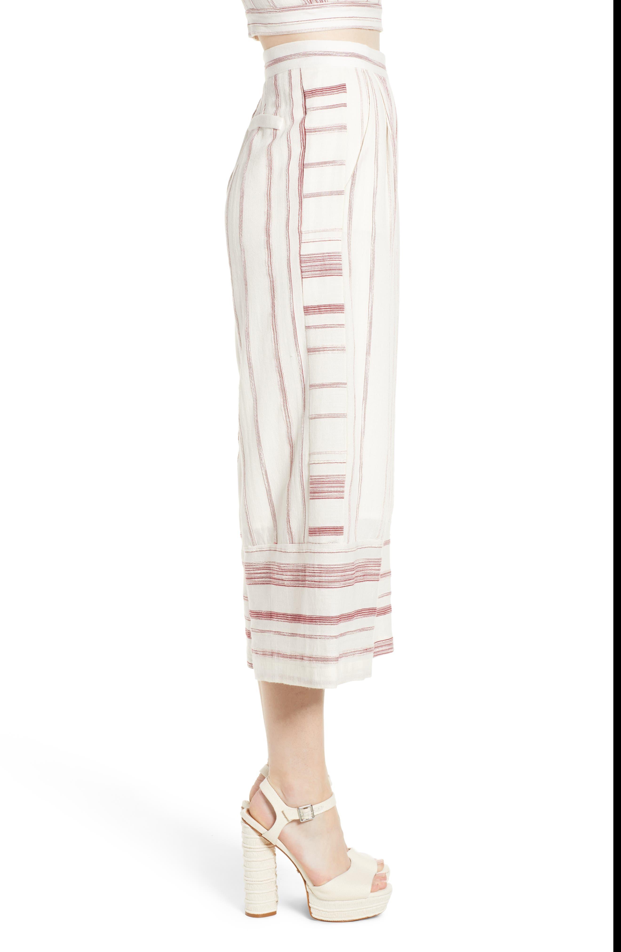 Mariana Stripe Crop Wide Leg Pants,                             Alternate thumbnail 3, color,                             600