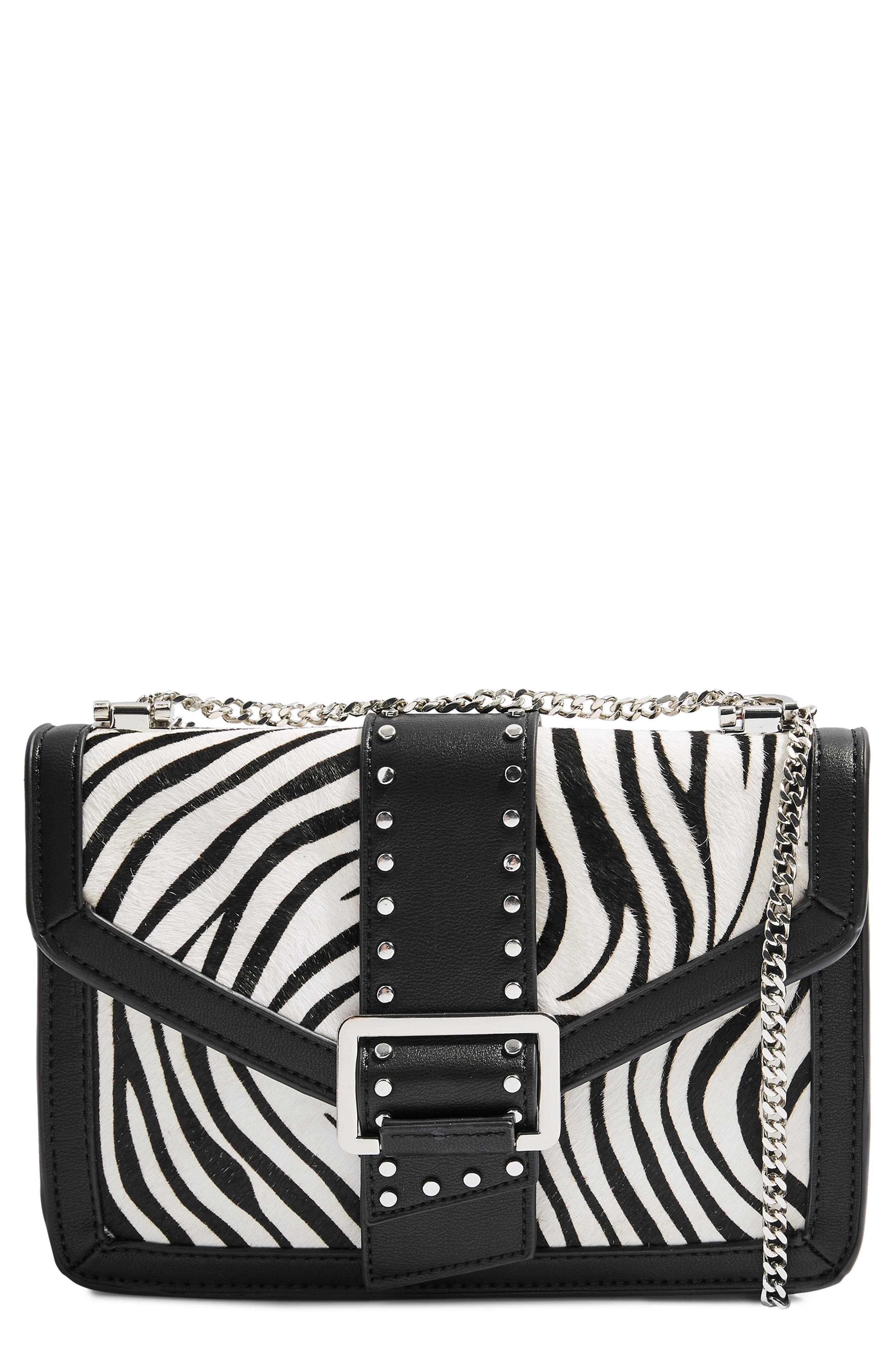 TOPSHOP Seema Studded Genuine Calf Hair Shoulder Bag, Main, color, 002