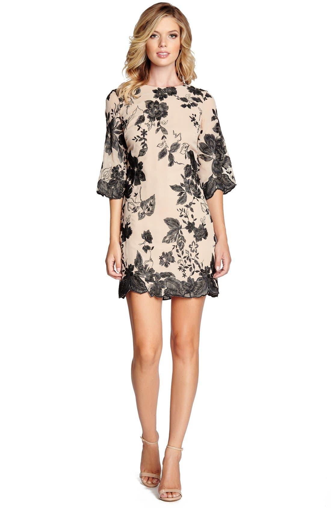 'Paige' Metallic Embroidered Chiffon Shift Dress,                             Alternate thumbnail 2, color,                             259