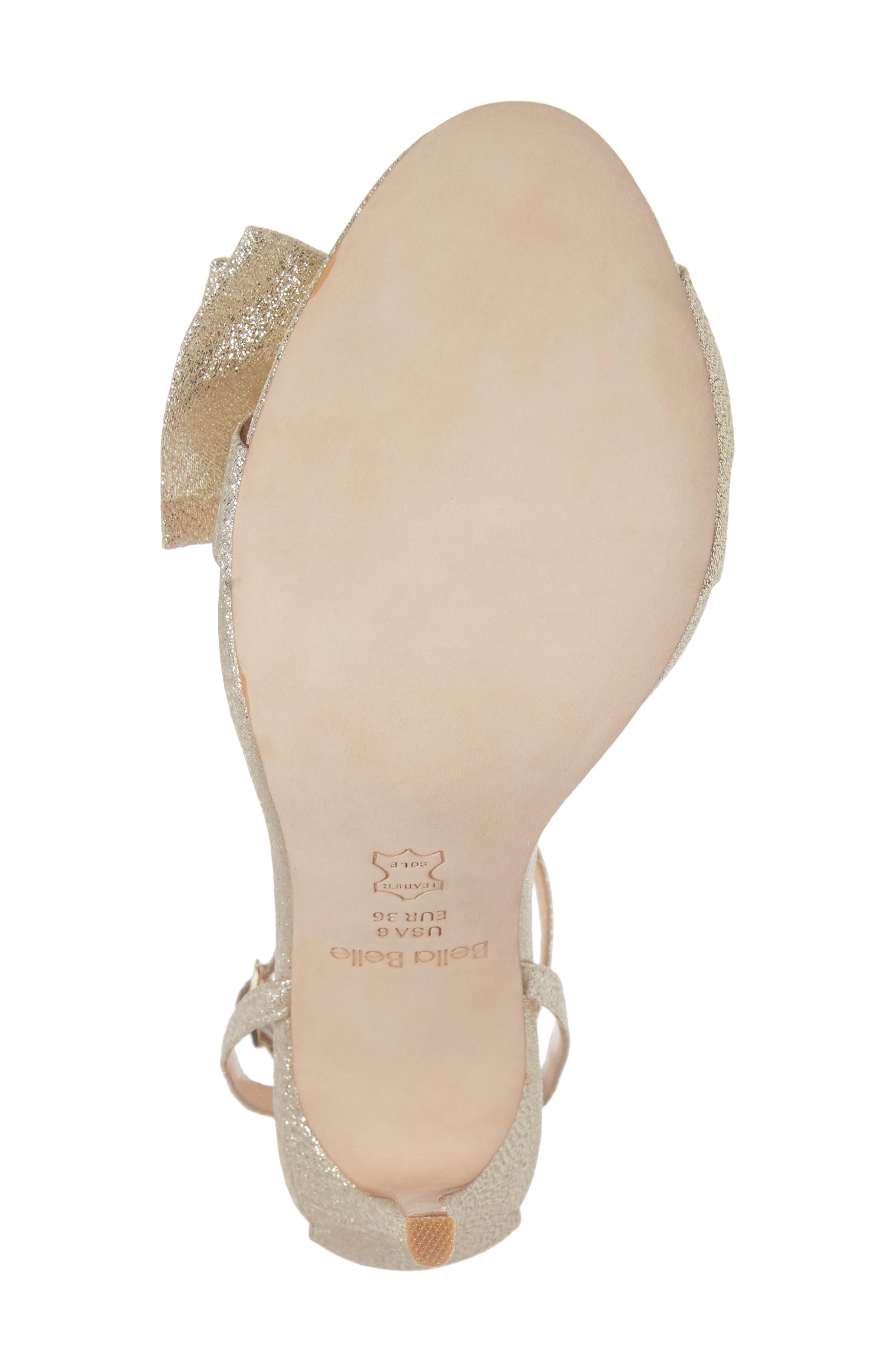Aubrey Bow Ankle Strap Sandal,                             Alternate thumbnail 6, color,                             GOLD