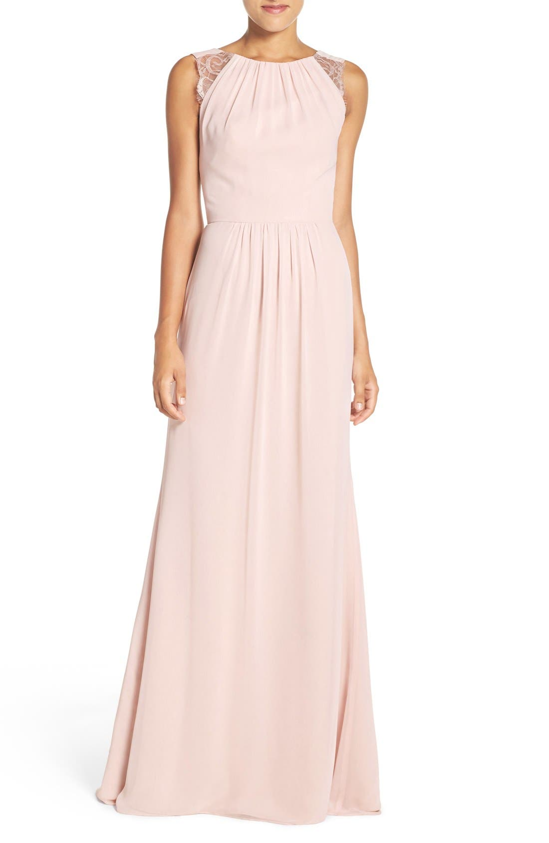 Lace Strap Gathered Chiffon Gown,                             Main thumbnail 4, color,