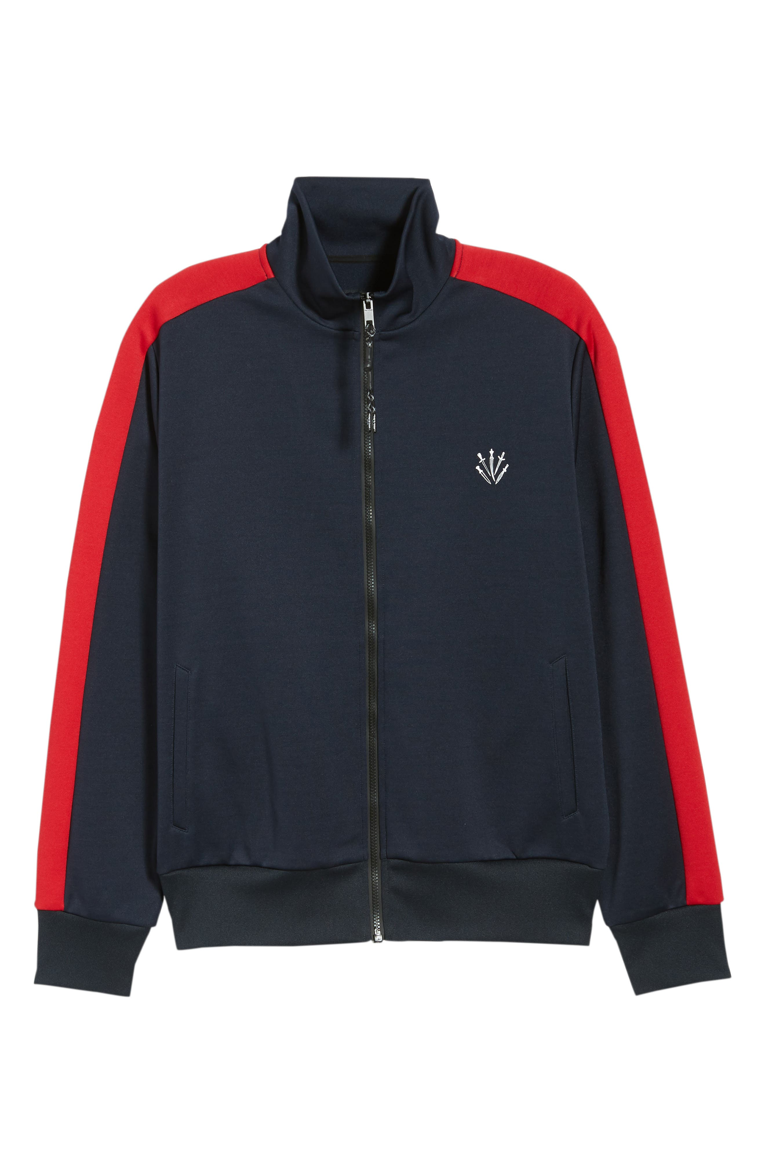 Club Slim Track Jacket,                             Alternate thumbnail 5, color,                             NAVY/ RED