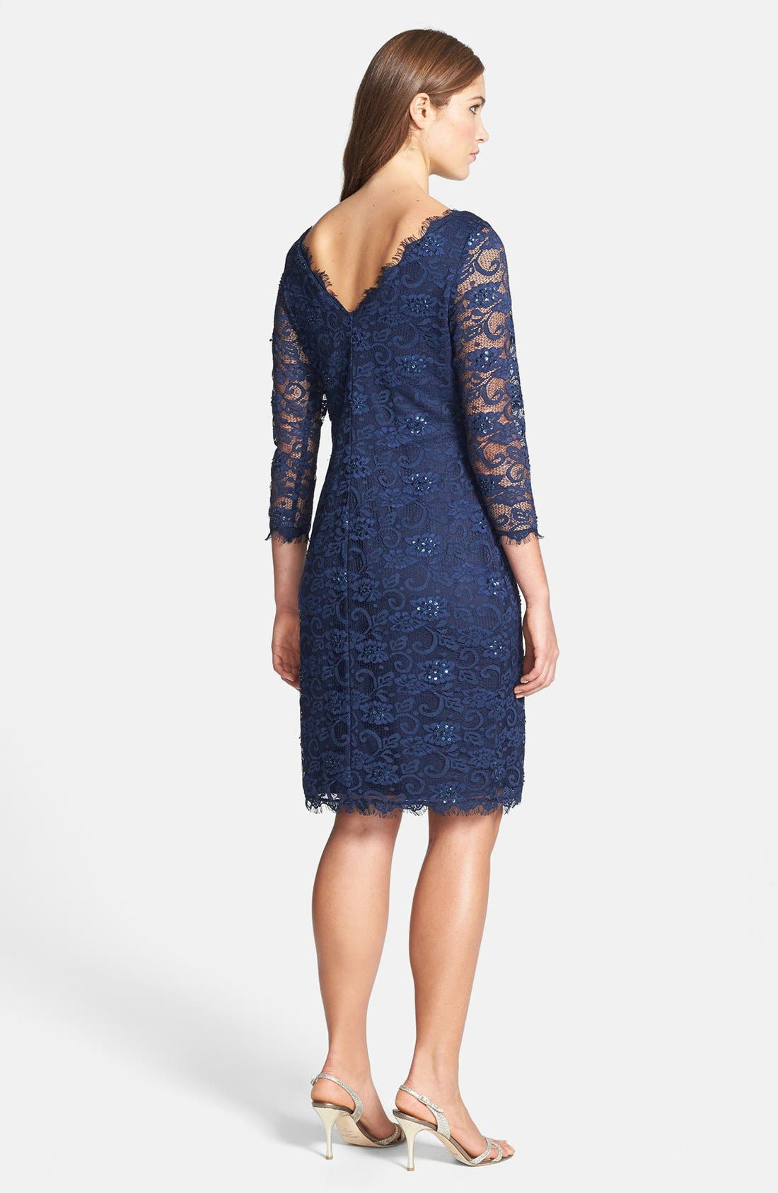 Embellished Lace Sheath Dress,                             Alternate thumbnail 2, color,                             410