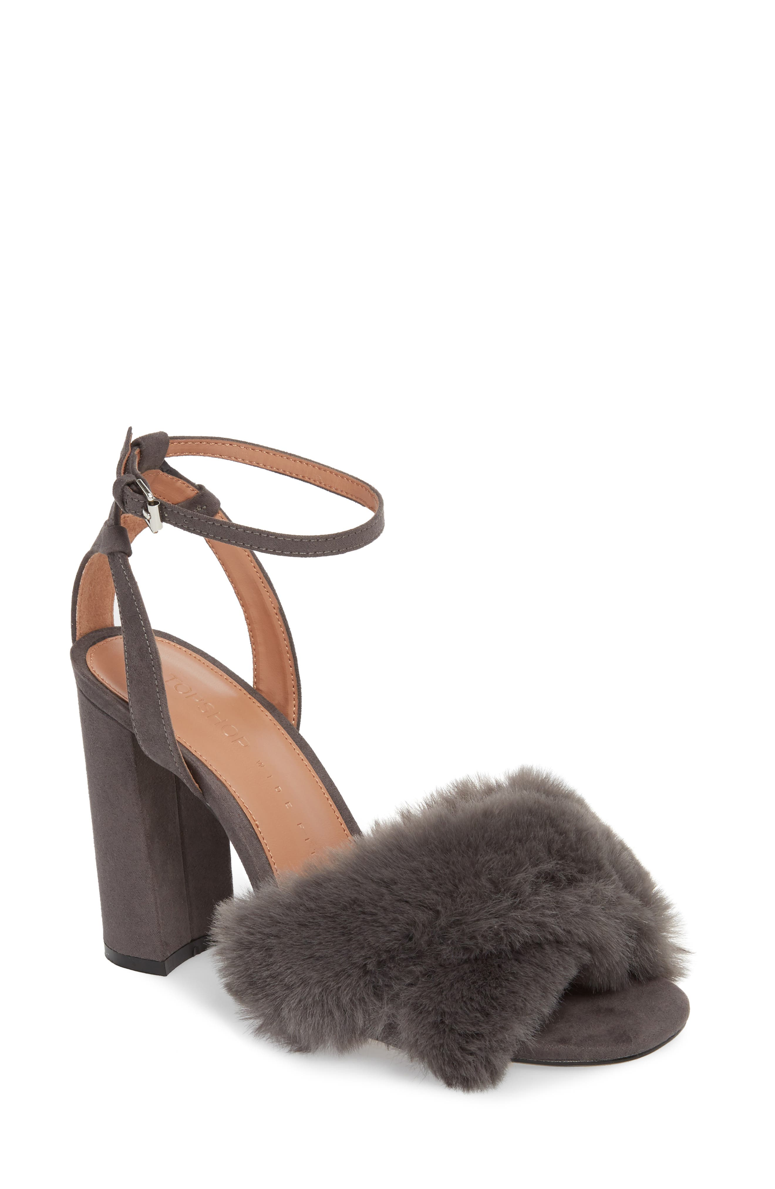 Sassy Faux Fur Sandal,                             Main thumbnail 2, color,