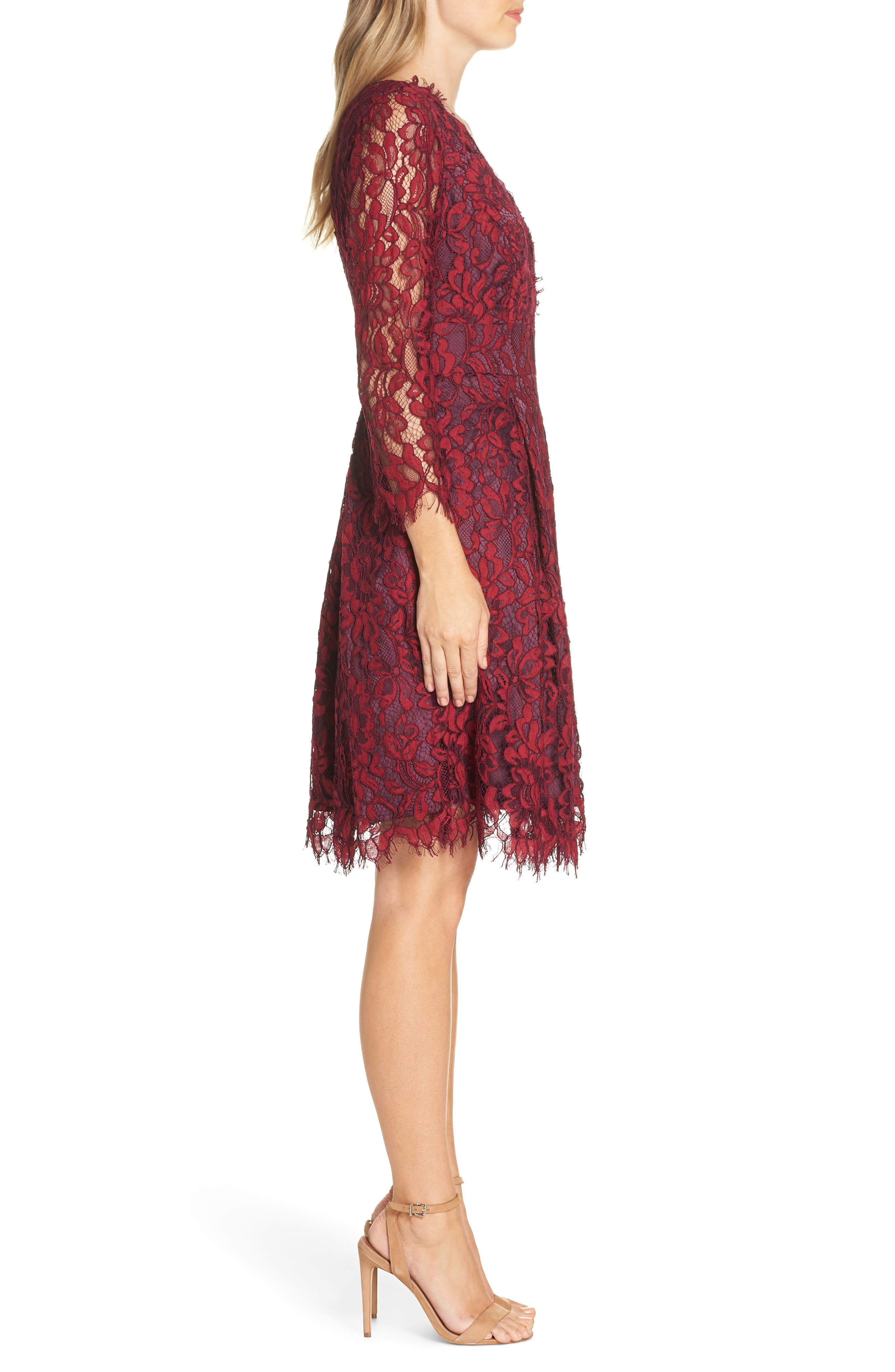 Lace V-Neck Fit & Flare Dress,                             Alternate thumbnail 3, color,                             RED