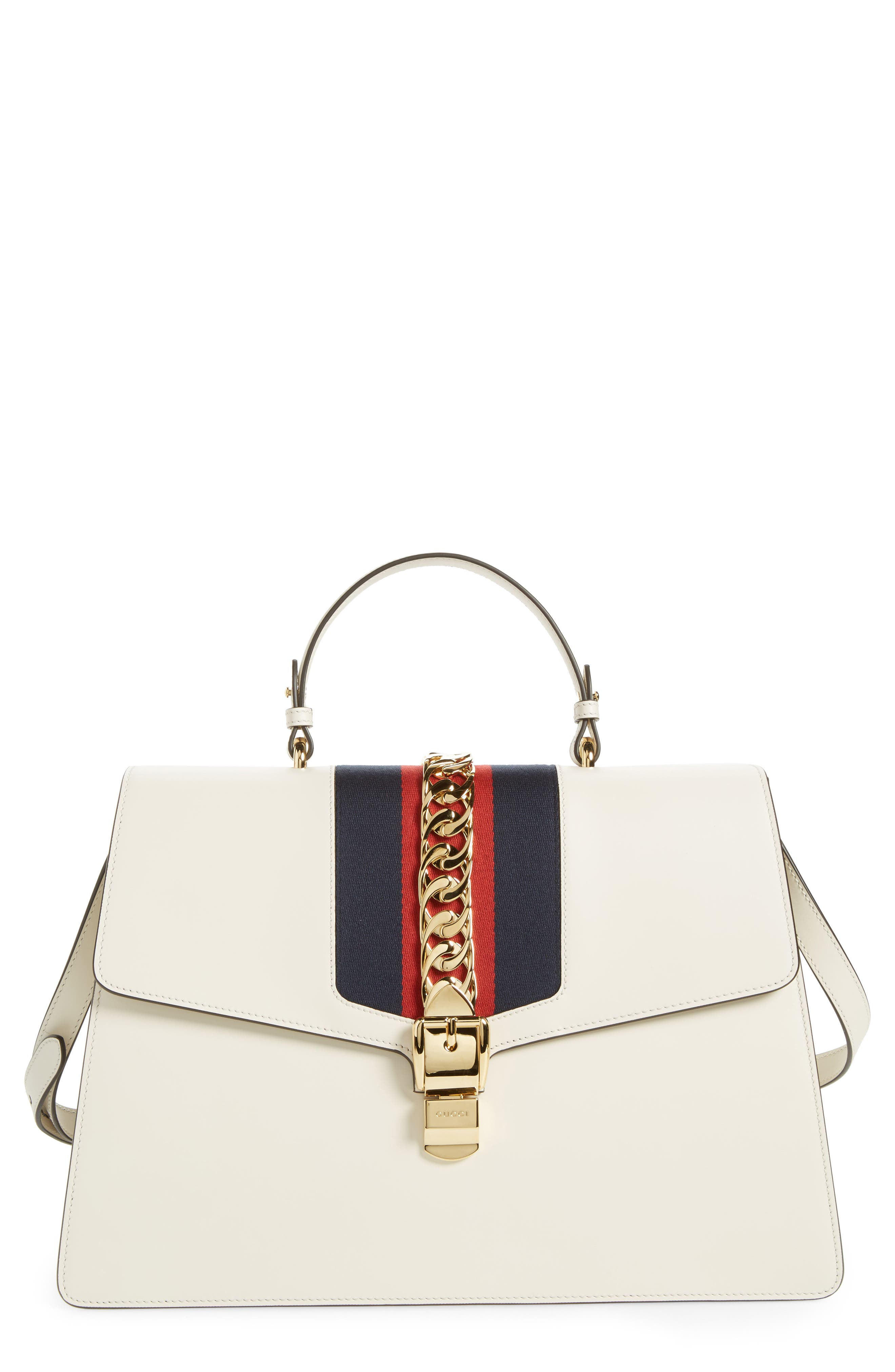 Maxi Sylvie Top Handle Leather Shoulder Bag,                         Main,                         color, MYSTIC WHITE/ BLUE RED