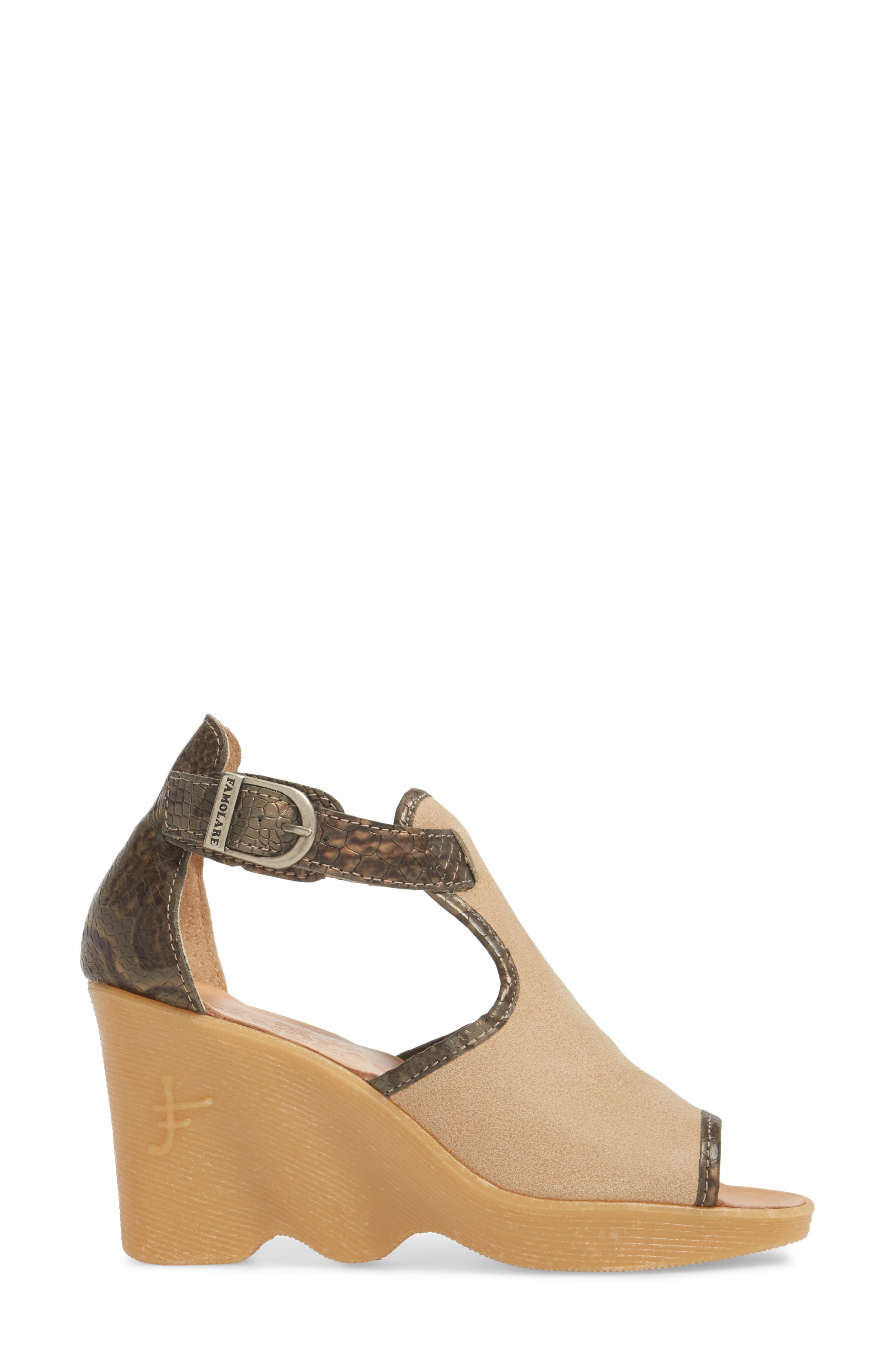 Queen Bee Wedge Sandal,                             Alternate thumbnail 3, color,                             NUDE MIX LEATHER