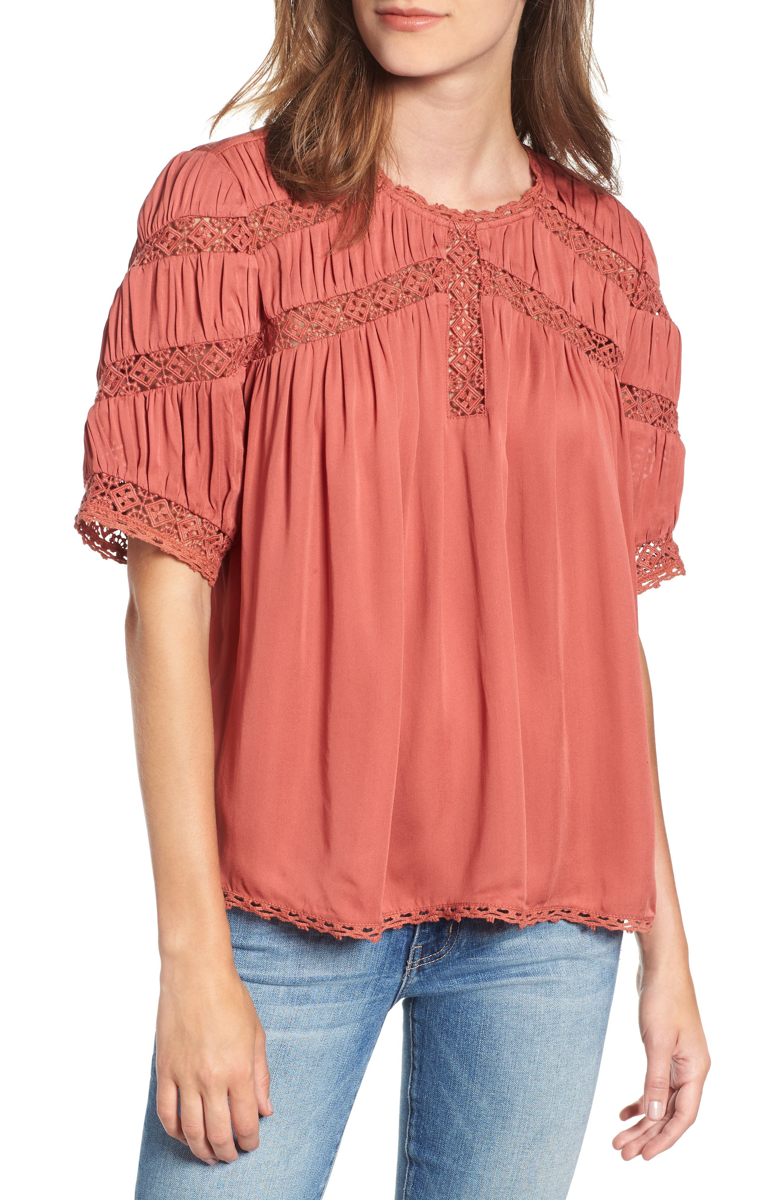 HINGE Gathered Lace Top, Main, color, 660