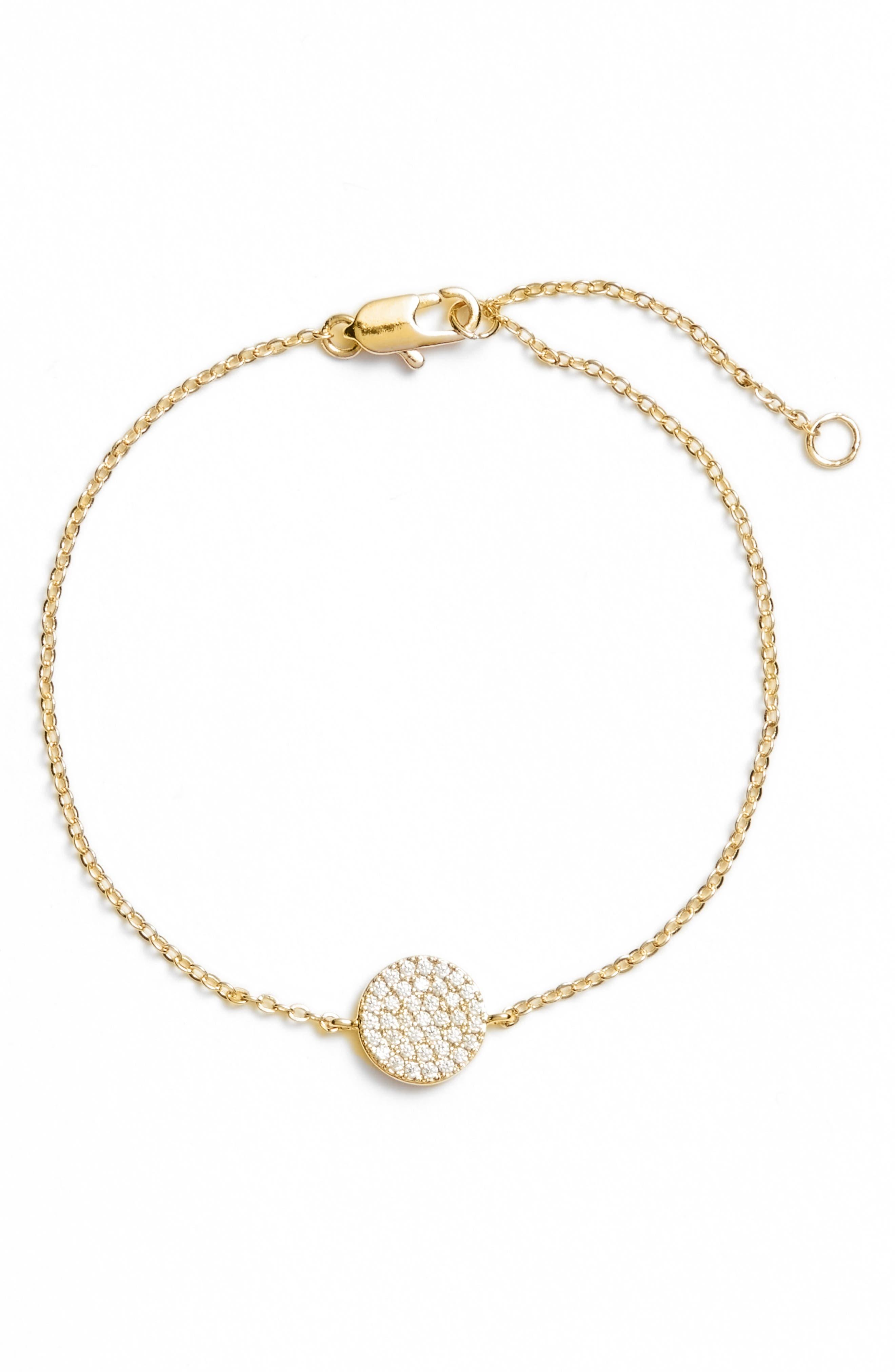 Pavé Disc Bracelet,                         Main,                         color, CLEAR- GOLD