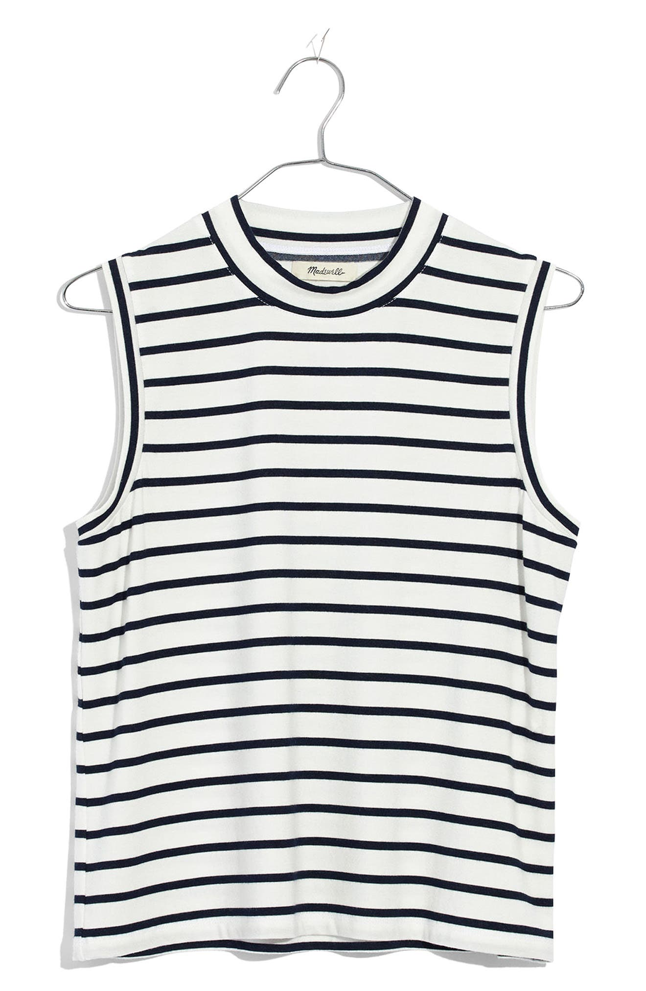 Stripe Mock Neck Tank,                             Alternate thumbnail 3, color,