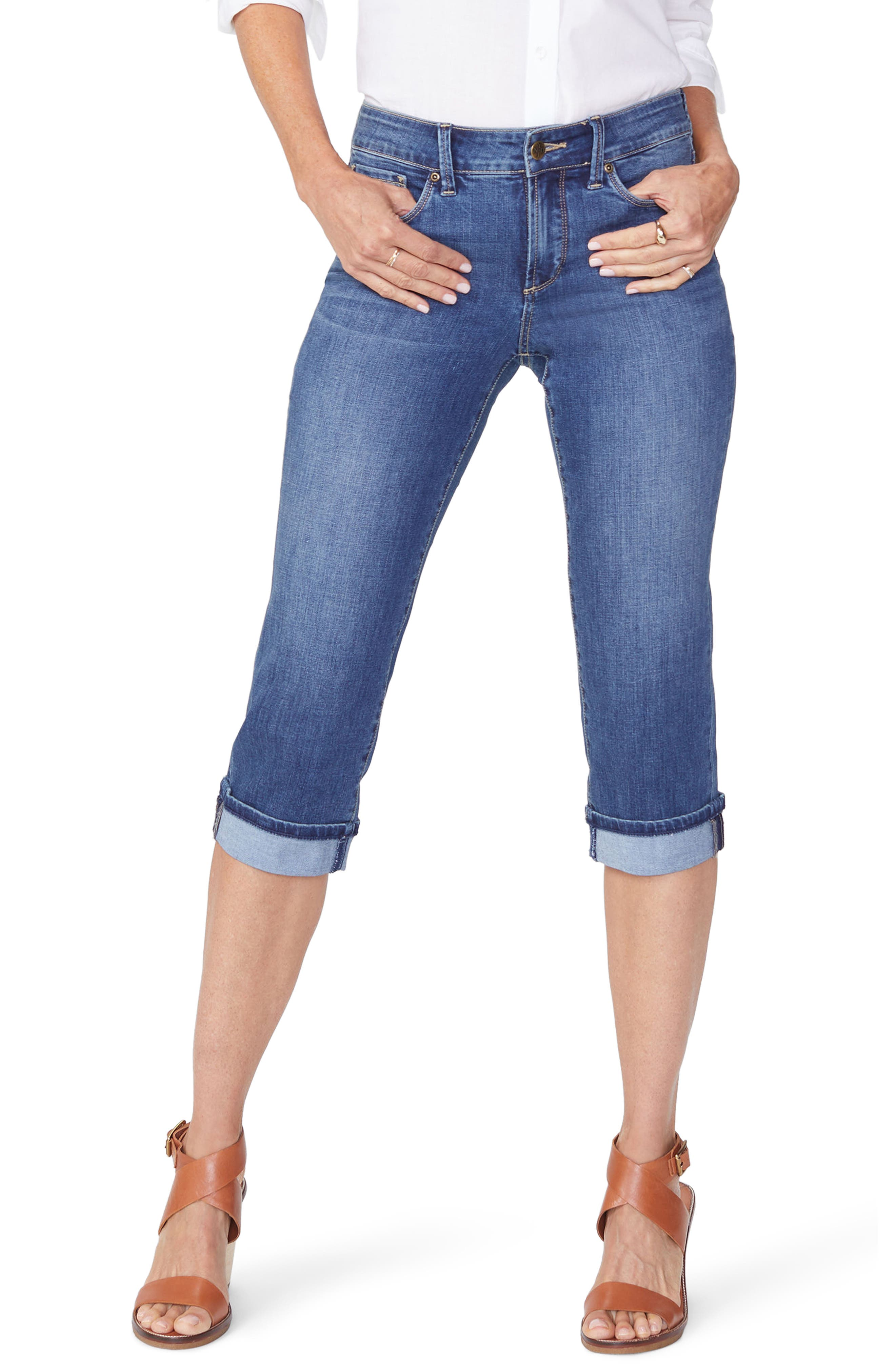Marilyn High Waist Cuffed Stretch Crop Jeans,                         Main,                         color, ZIMBALI