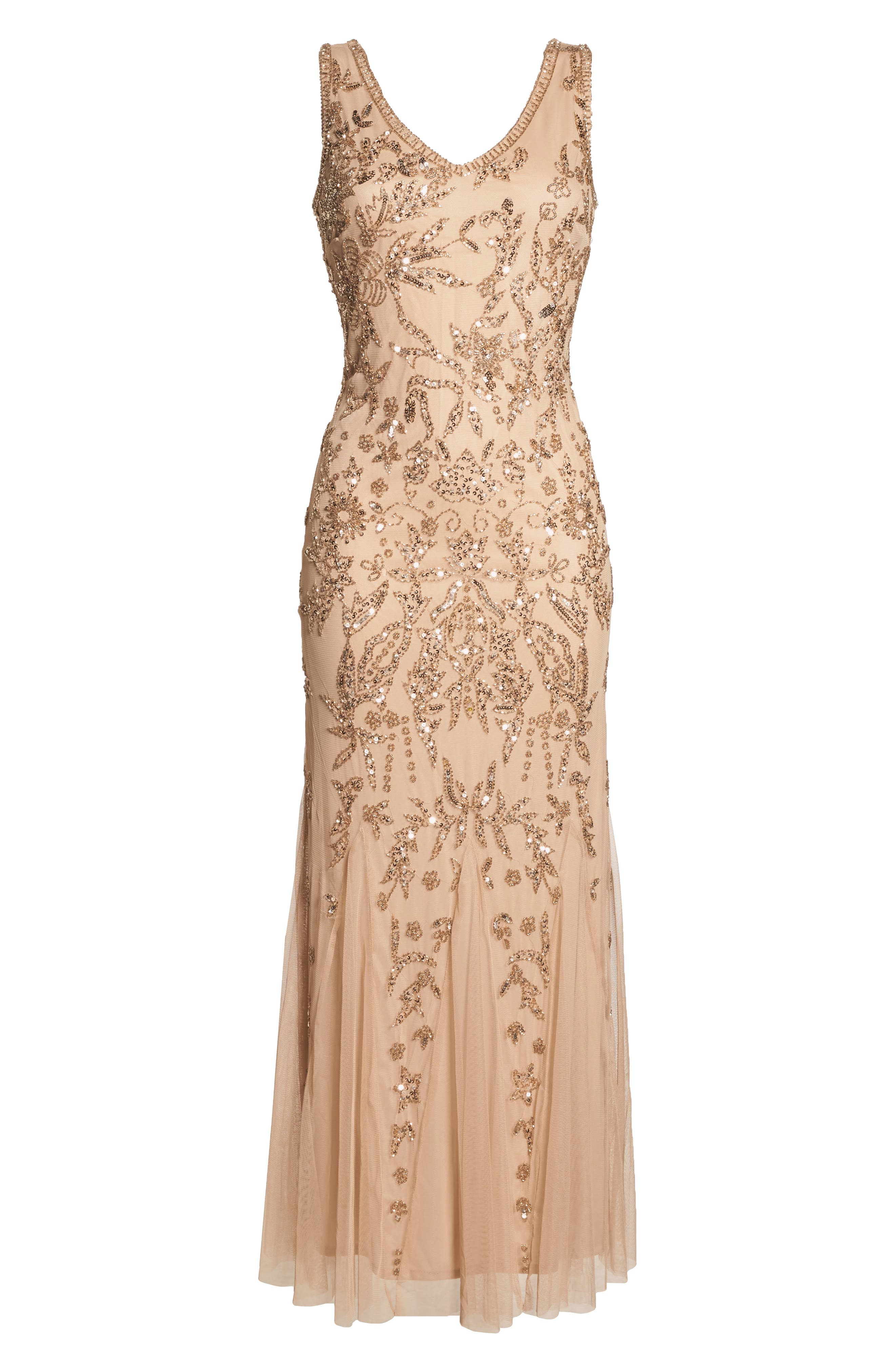 Embellished Mesh Gown,                             Alternate thumbnail 8, color,                             690