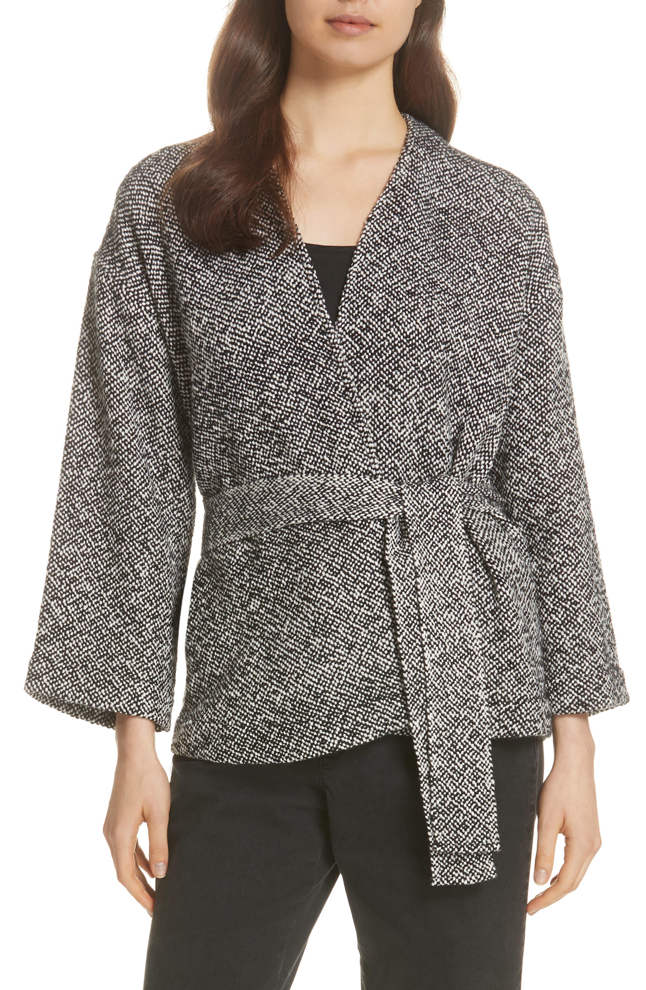 Cotton Tweed Kimono Jacket,                             Main thumbnail 1, color,                             BLACK