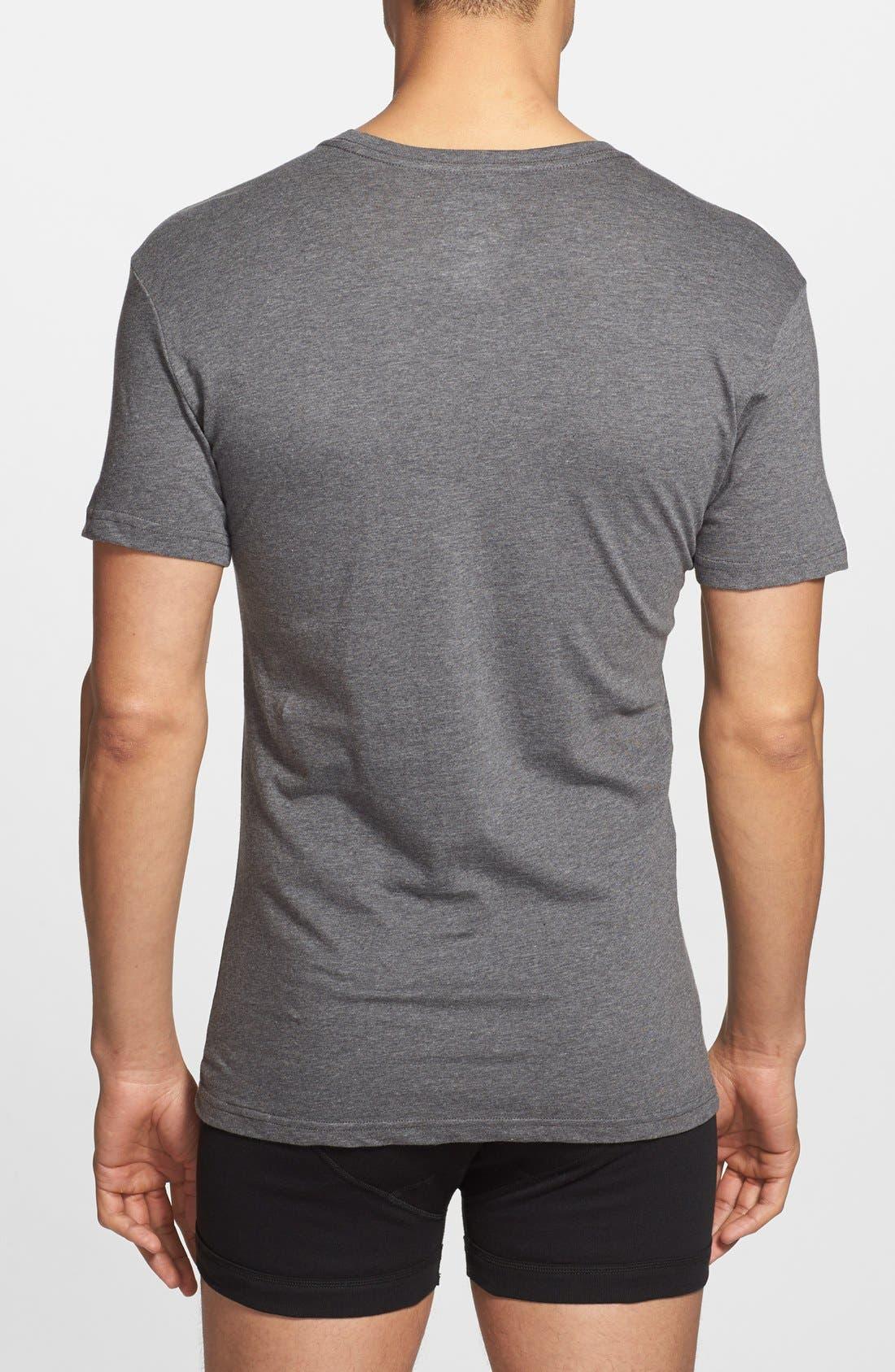3-Pack Slim Fit T-Shirt,                             Alternate thumbnail 3, color,                             BLACK/ GREY/ CHARCOAL