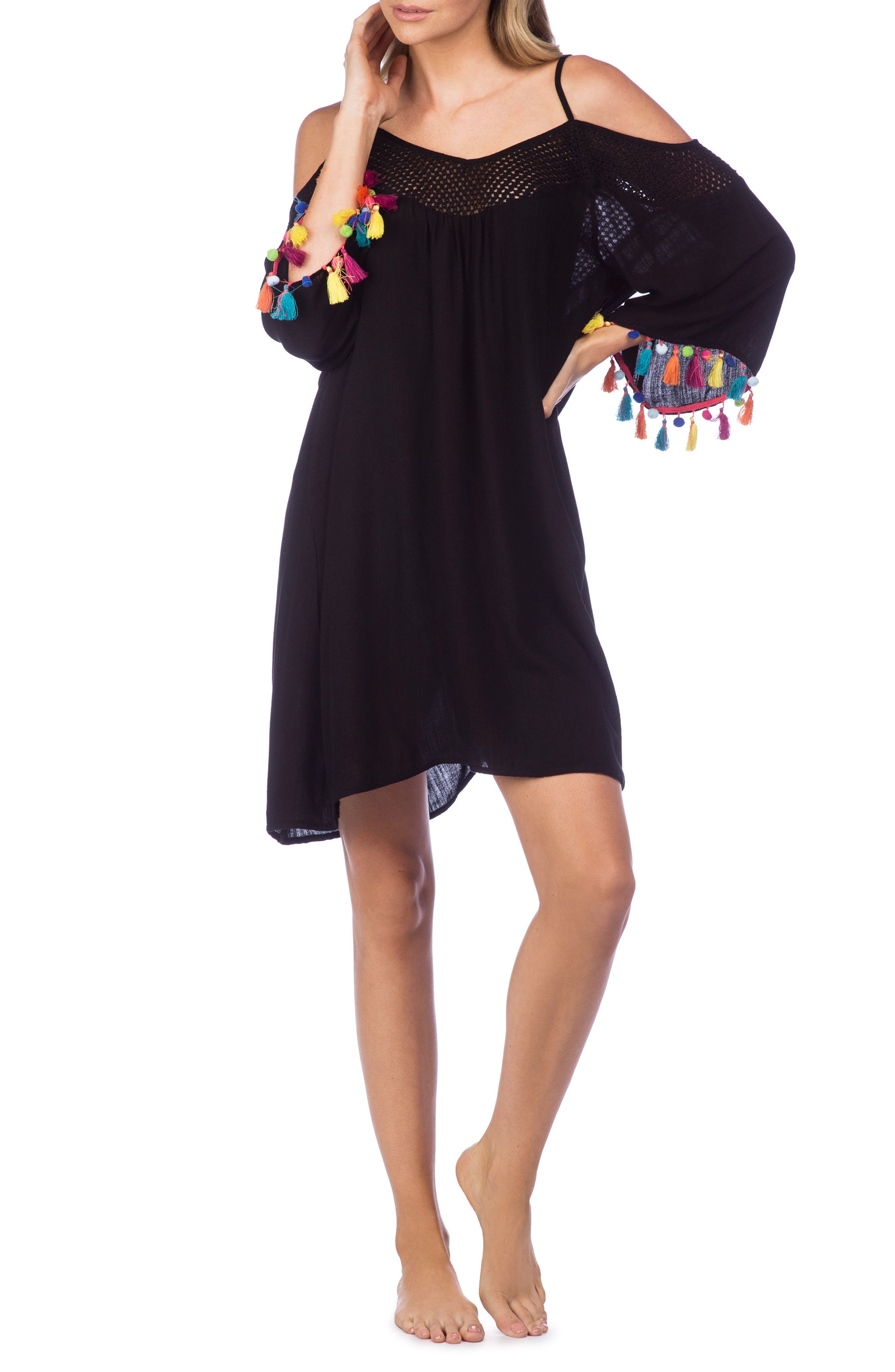 Cha Cha Cha Off the Shoulder Cover-Up,                         Main,                         color, 001