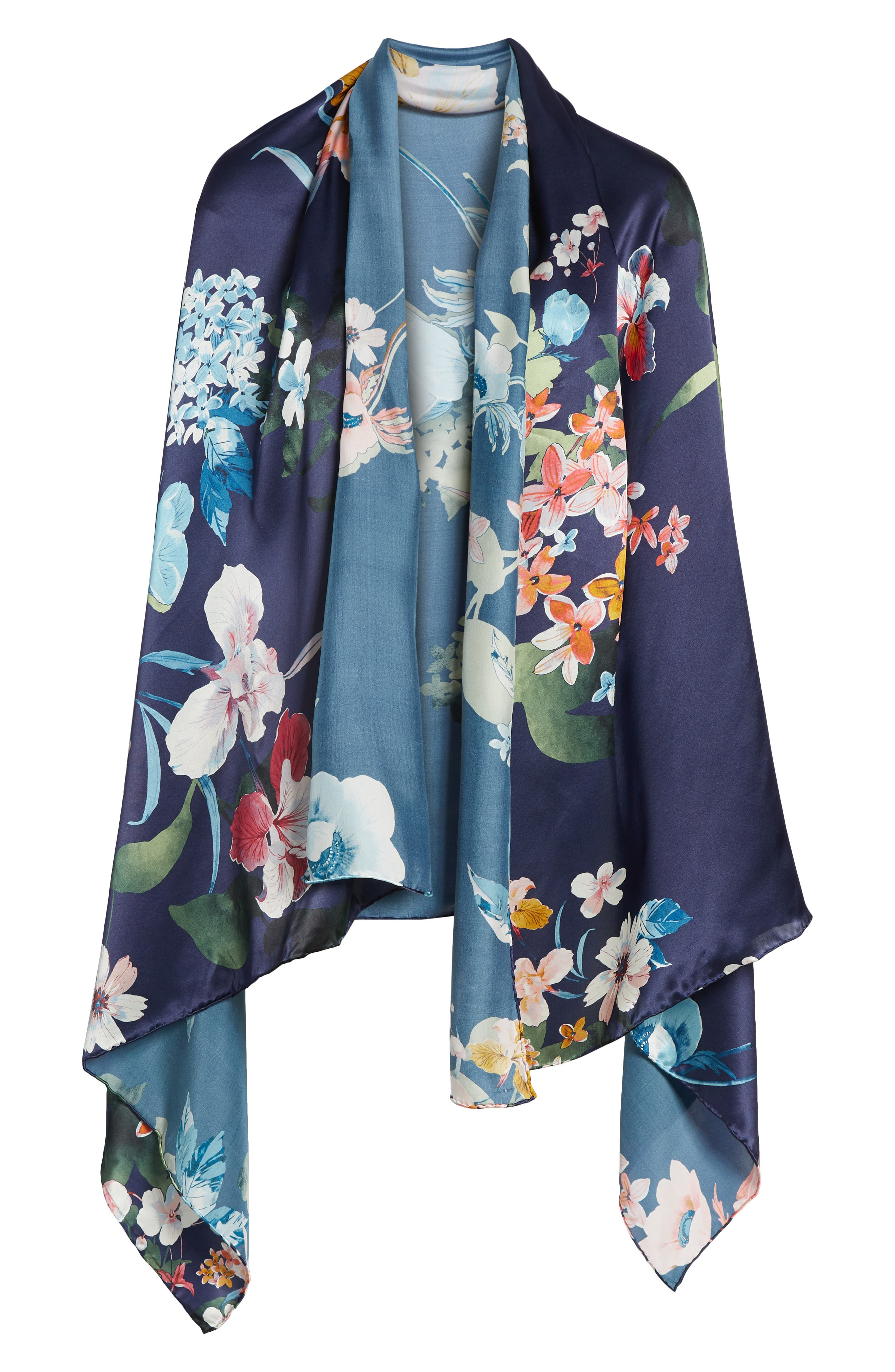 Flower Print Silk Wrap,                             Alternate thumbnail 6, color,                             410