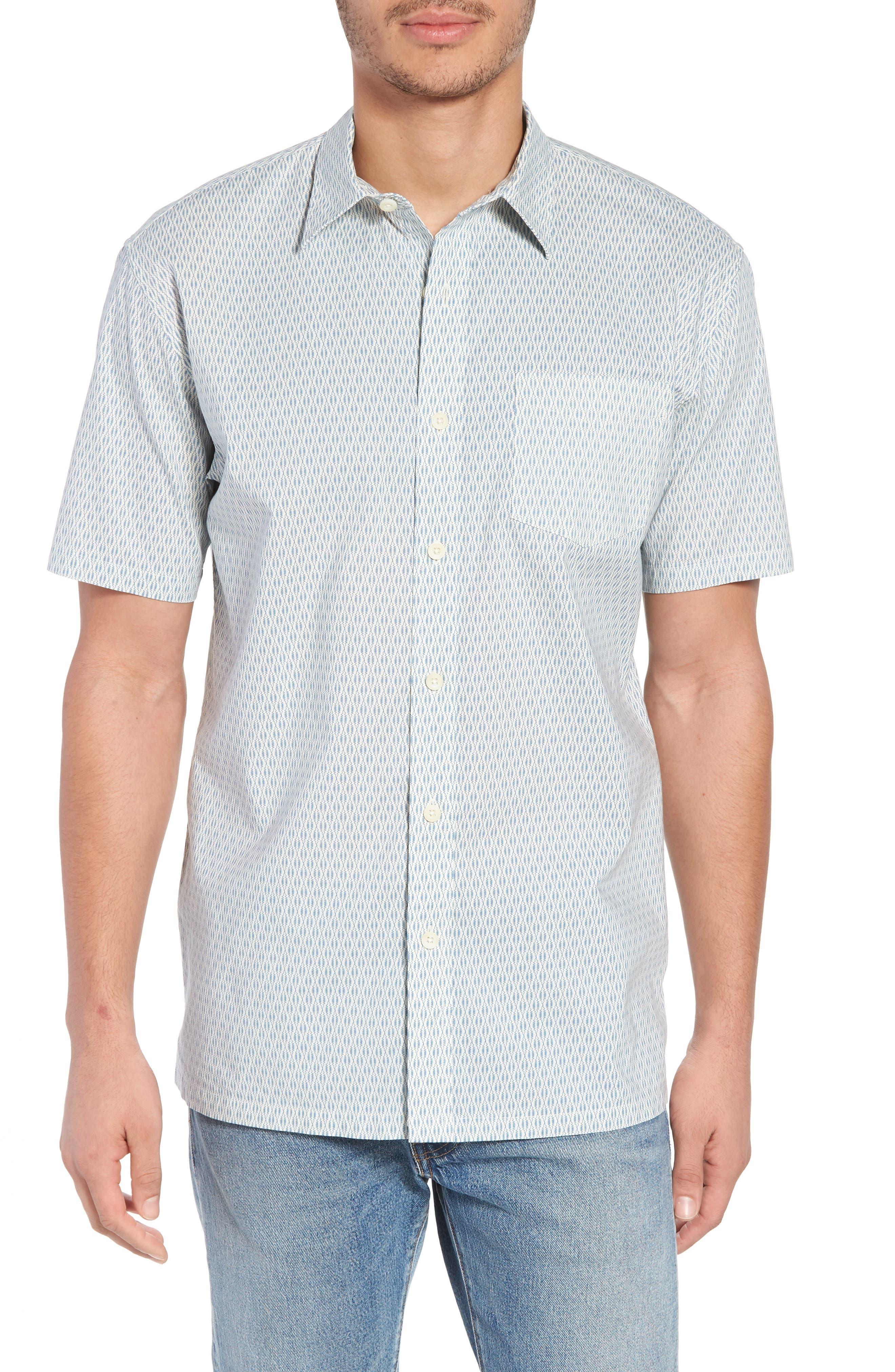 Regular Fit Print Short Sleeve Sport Shirt,                             Main thumbnail 1, color,                             VINTAGE NAVY SQUIGGLE