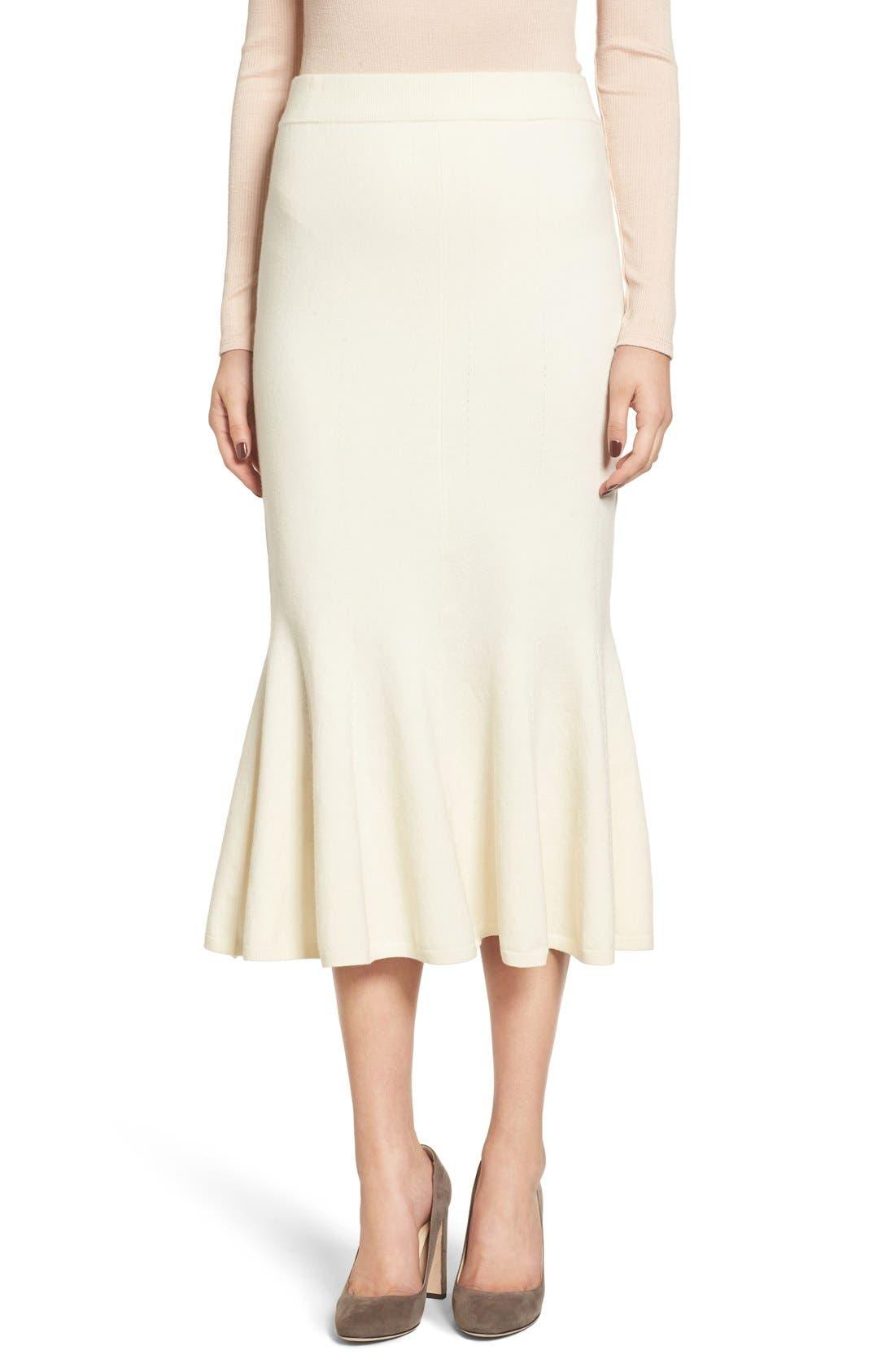 Fluted Wool Blend Skirt,                             Alternate thumbnail 2, color,                             900