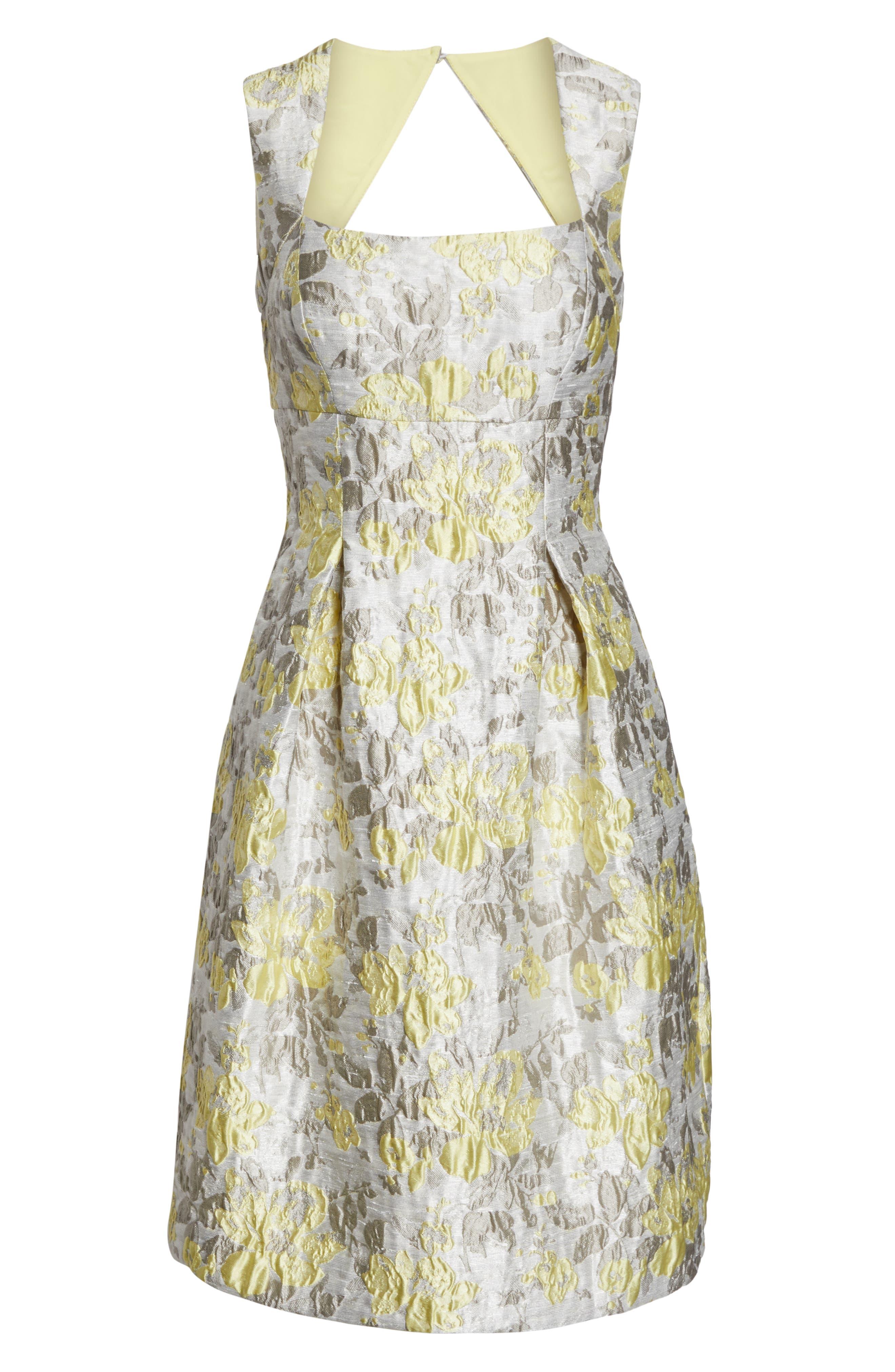 ELIZA J,                             Floral Jacquard Fit & Flare Dress,                             Alternate thumbnail 7, color,                             SILVER COMBO