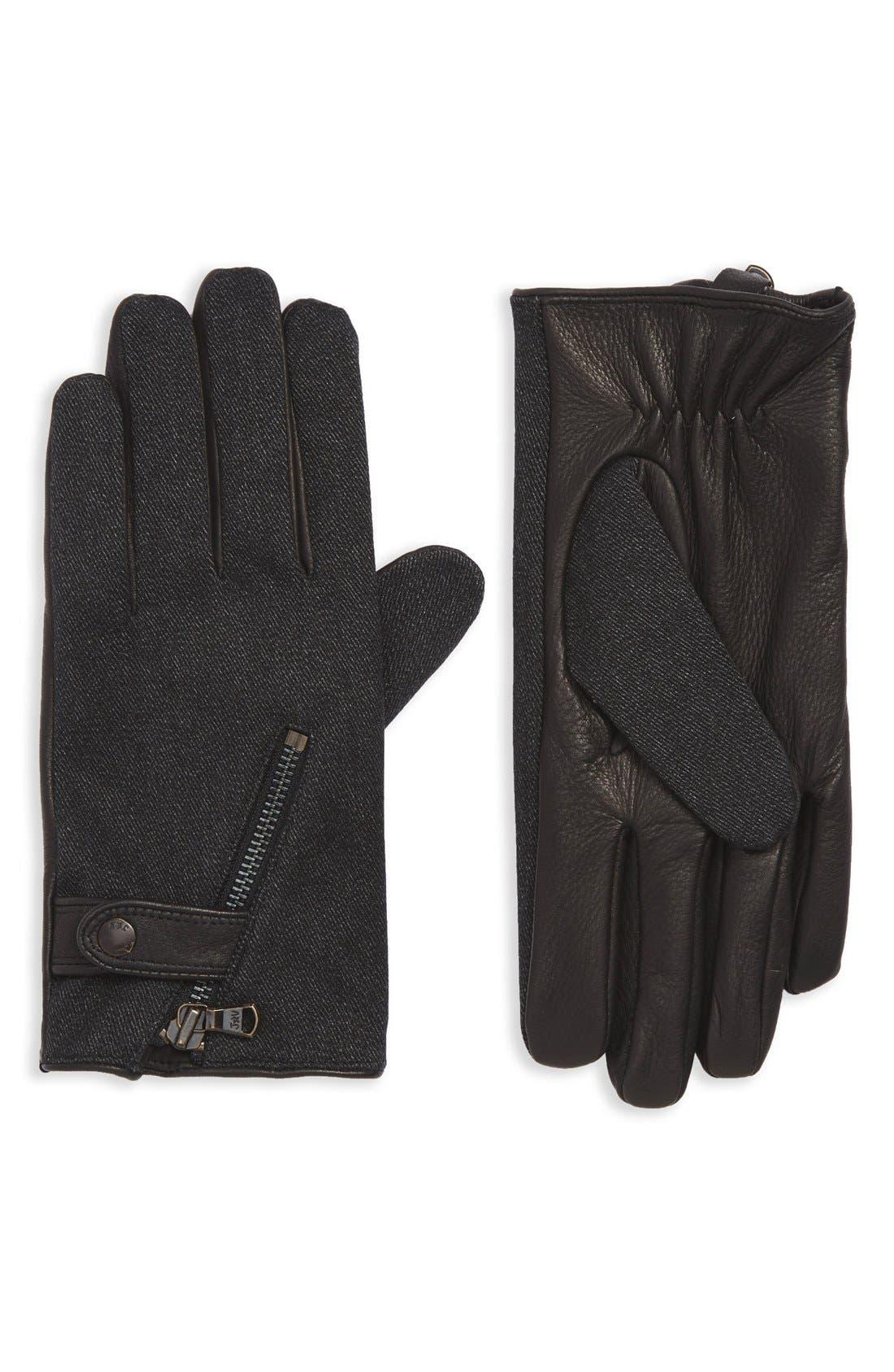 Wool Blend Zip Gloves,                             Main thumbnail 2, color,